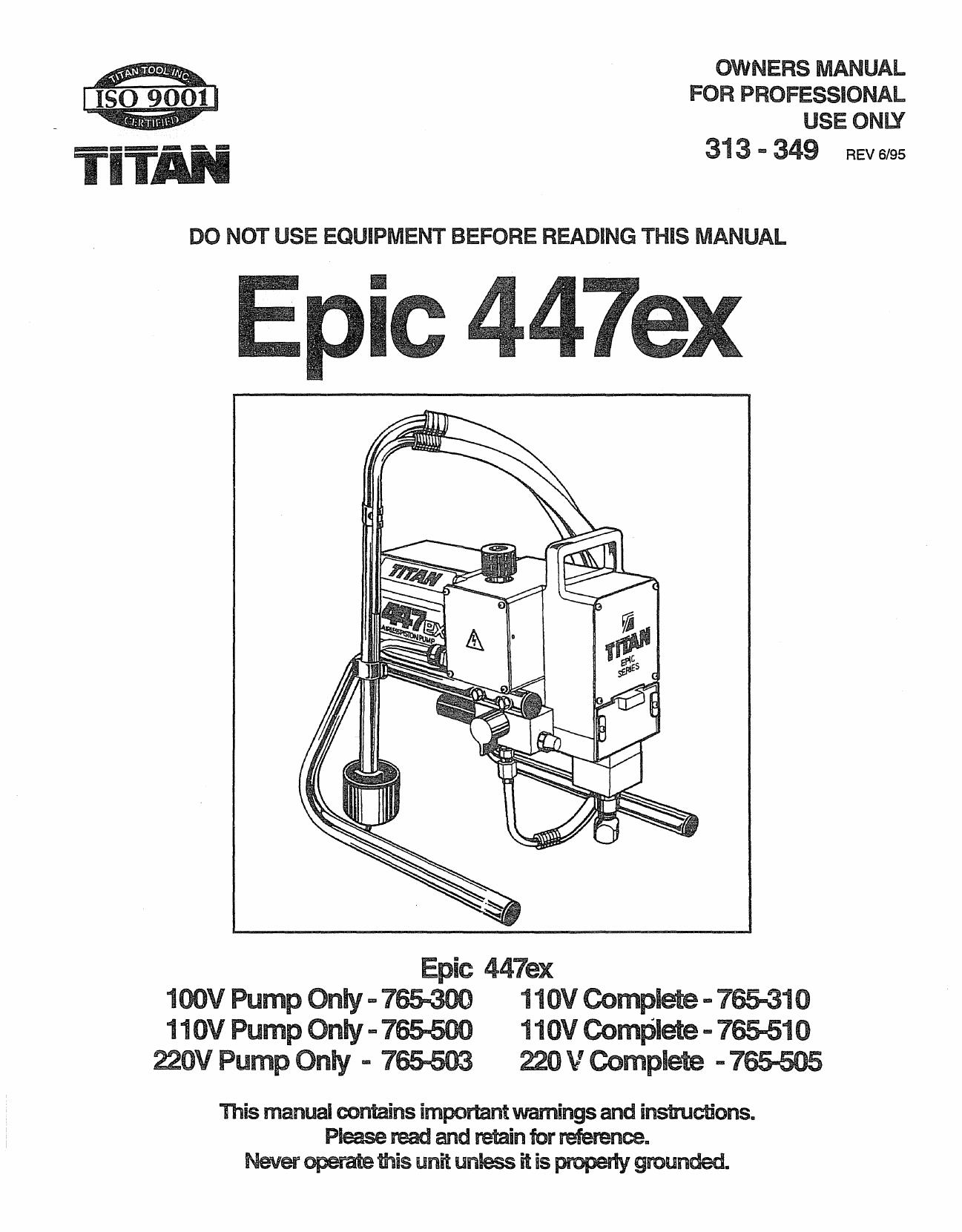 Epic 447ex - Titantool | manualzz com