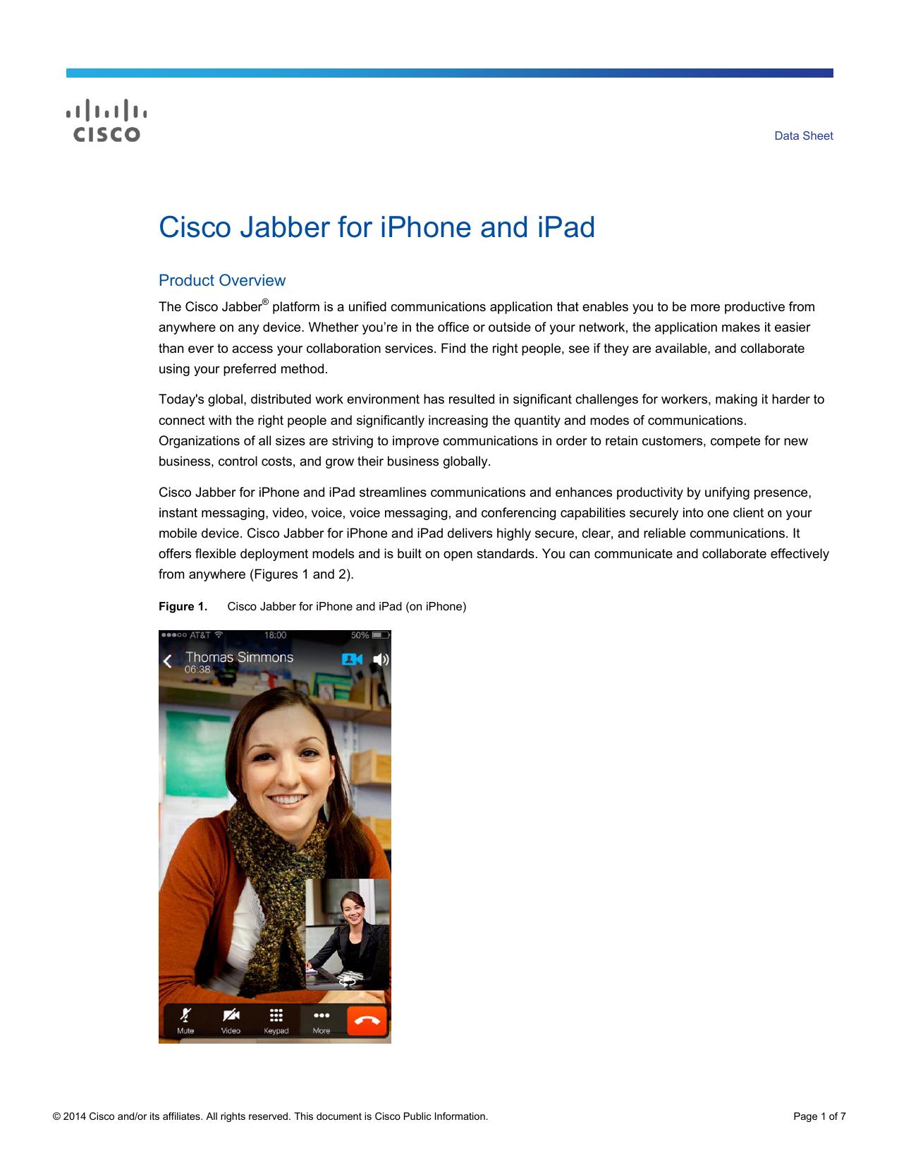 Cisco Jabber for iPhone and iPad Data Sheet | manualzz com