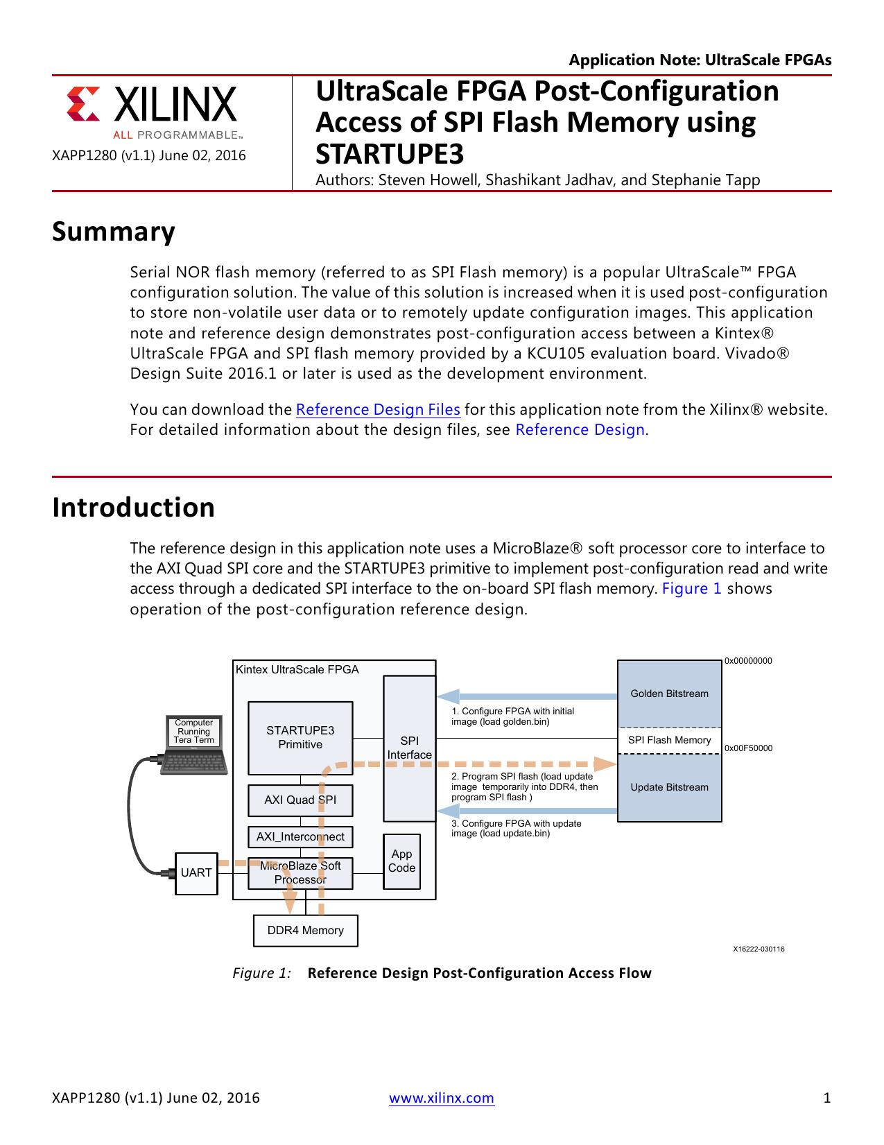 UltraScale FPGA Post-Configuration Access of SPI Flash