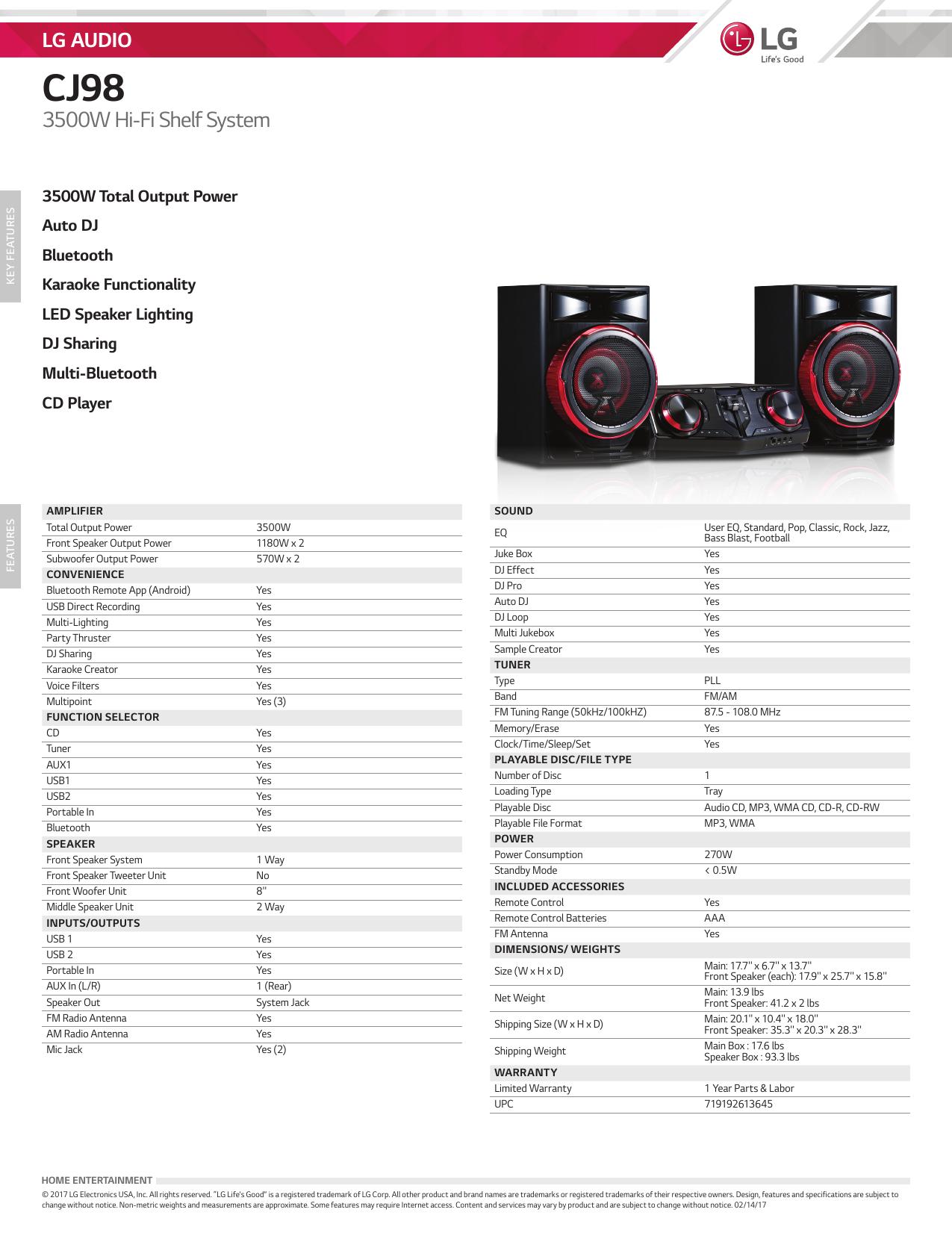 LG 3500W Hi-Fi Shelf Speaker System Specs - Rent-A