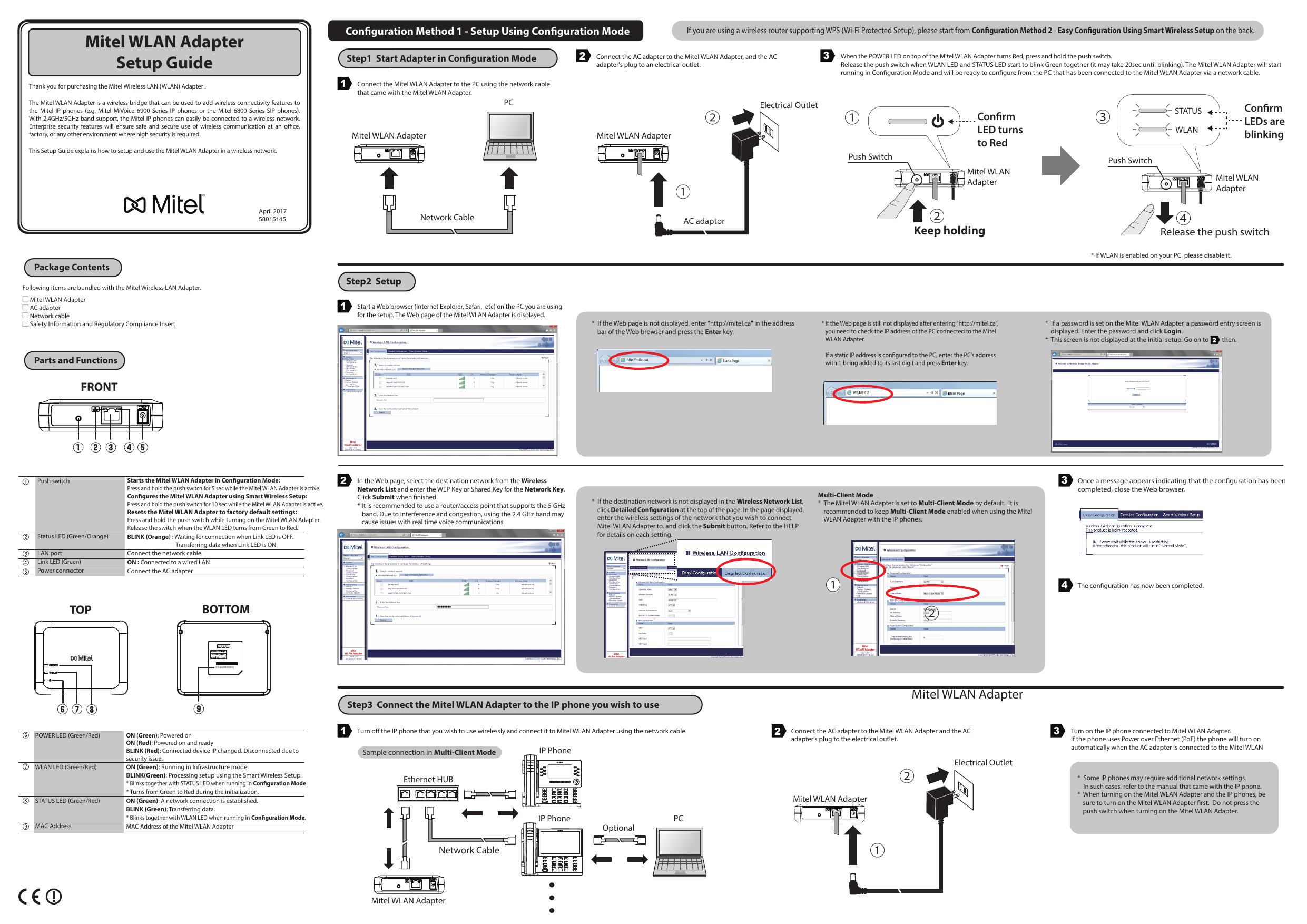 Mitel WLAN Adapter Setup Guide | manualzz com