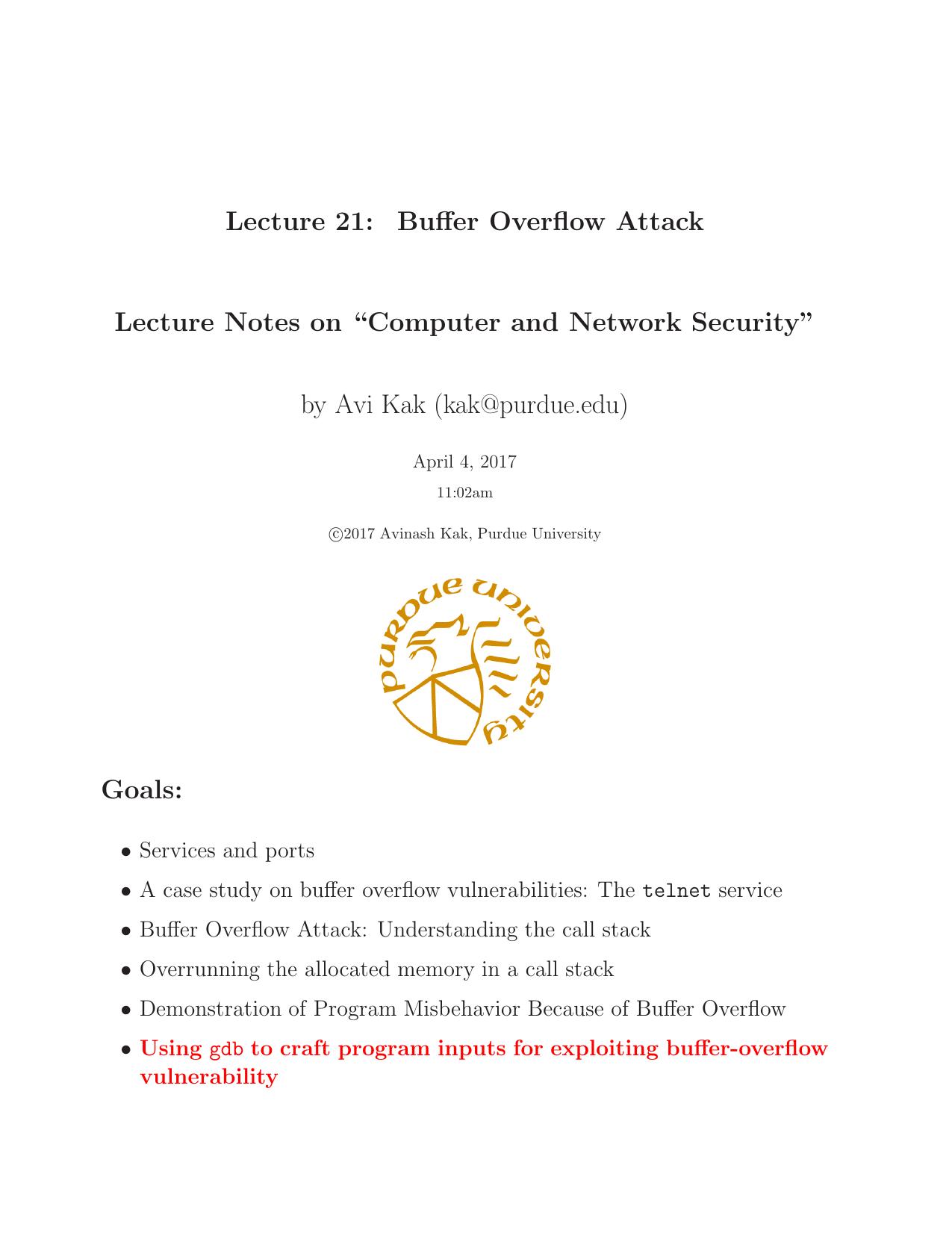 The Buffer Overflow Attack - Purdue Engineering   manualzz com
