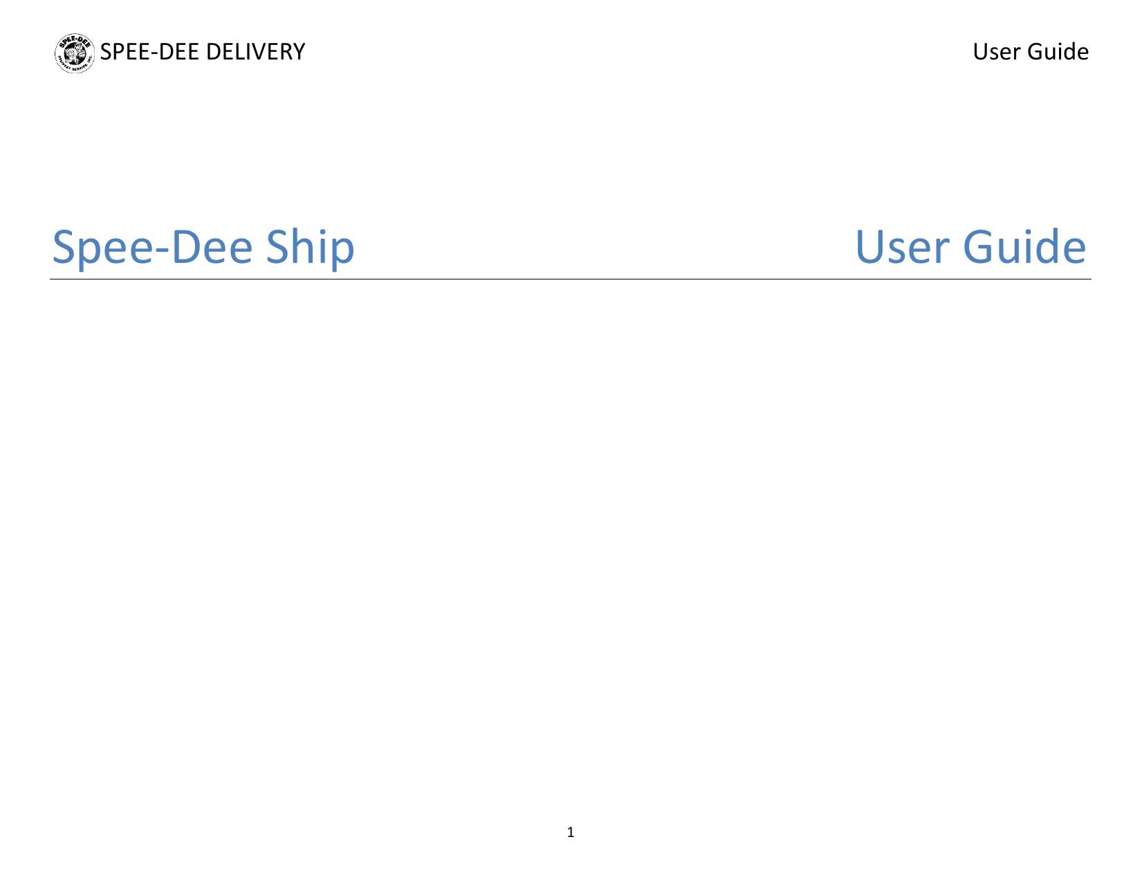 Spee-Dee Ship User Guide | Manualzz