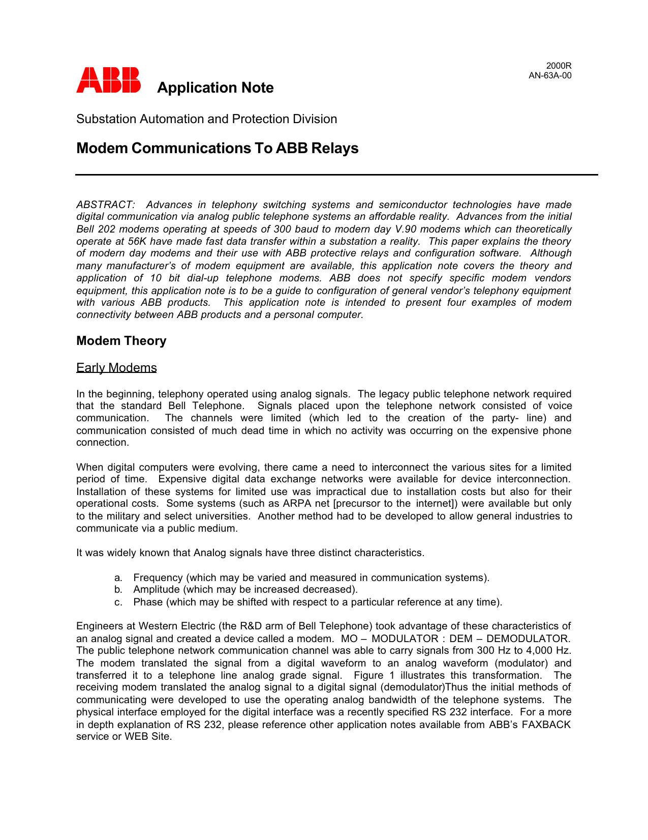 Modem Communications To ABB Relays ABB   manualzz.com on