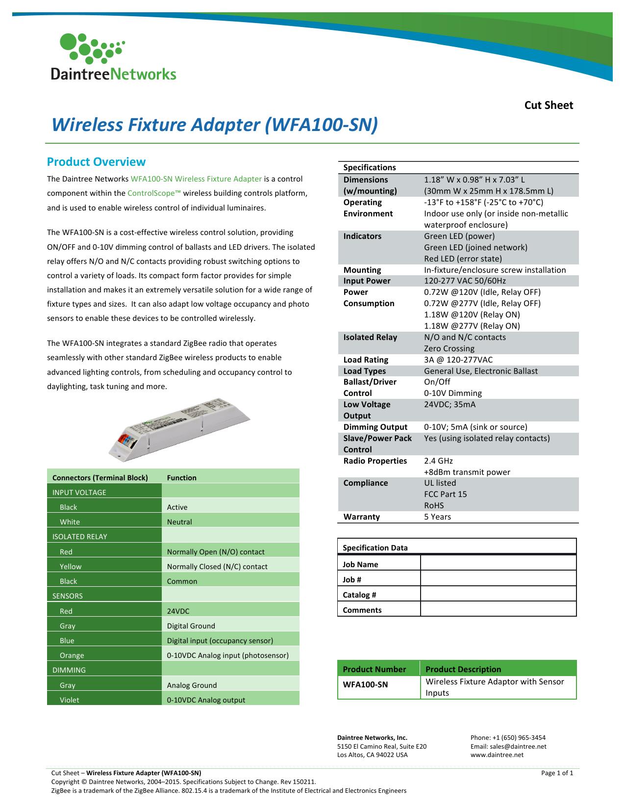 NEW DAINTREE  WFA100-SN WIRELESS FIXTURE ADAPTER