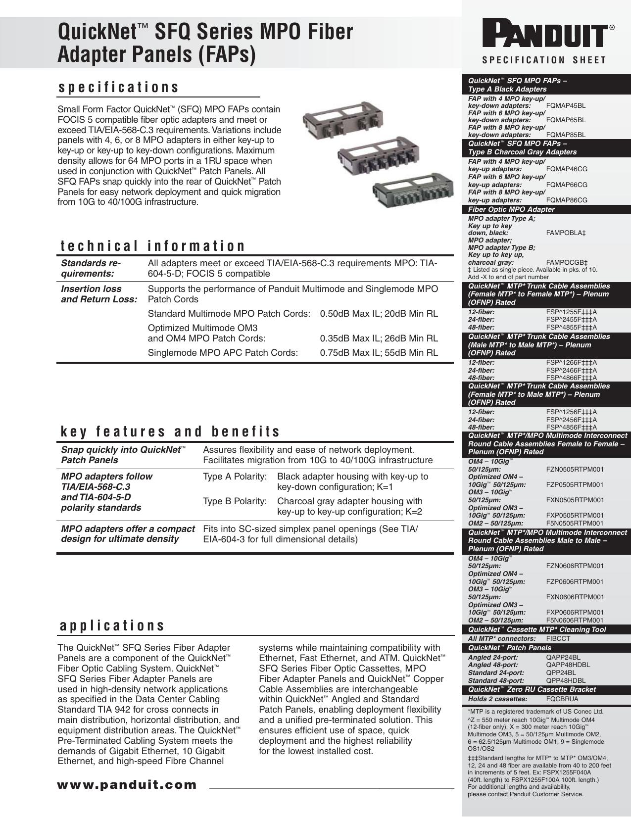 QuickNet™ SFQ Series MPO Fiber Adapter Panels (FAPs