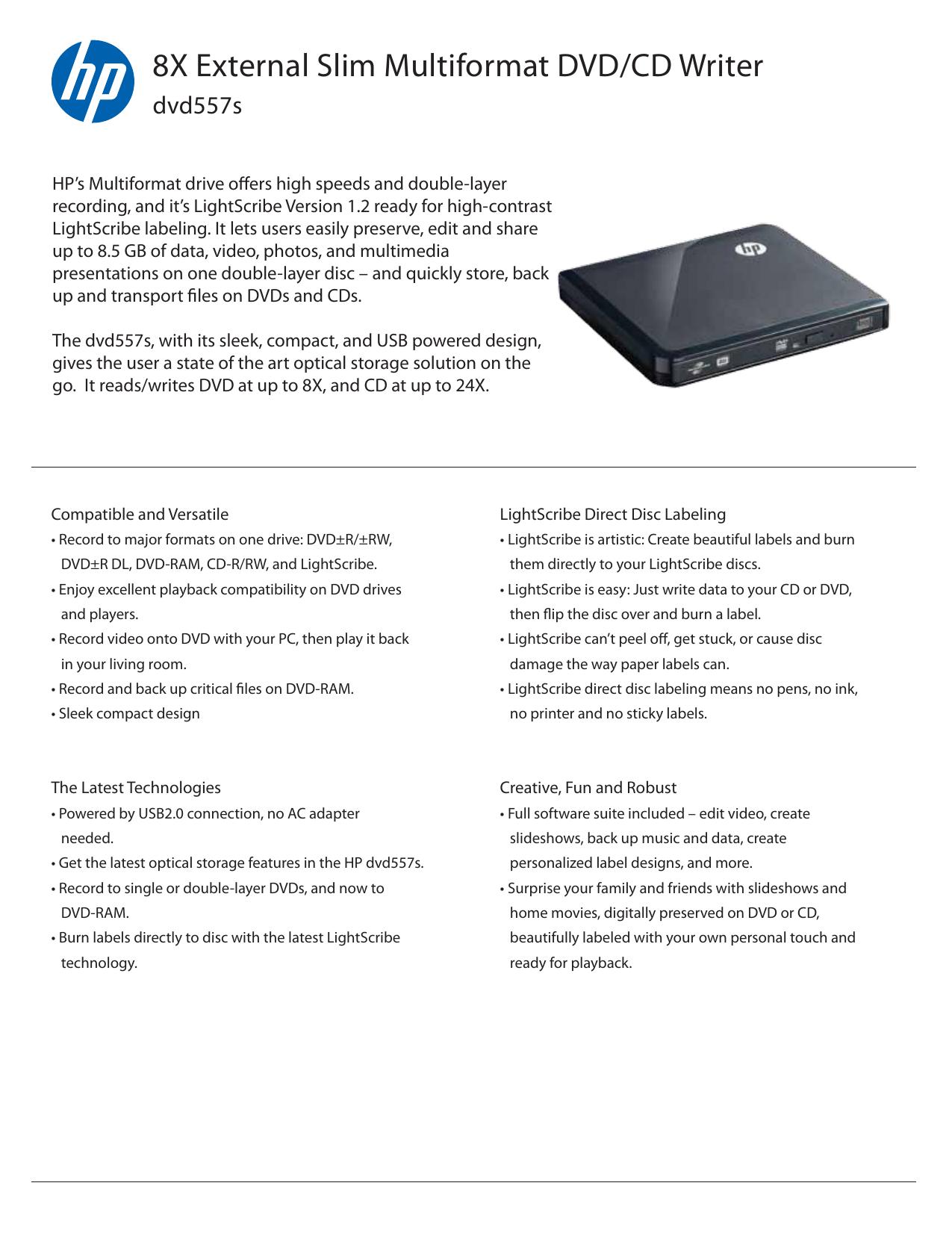 HP DVD557S EXTERNAL DVD-WRITER DRIVER FOR WINDOWS DOWNLOAD