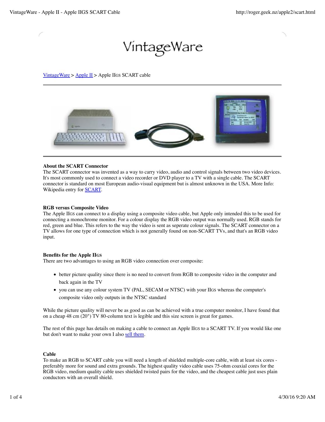 VintageWare - Apple II - Apple IIGS SCART Cable   manualzz.com on