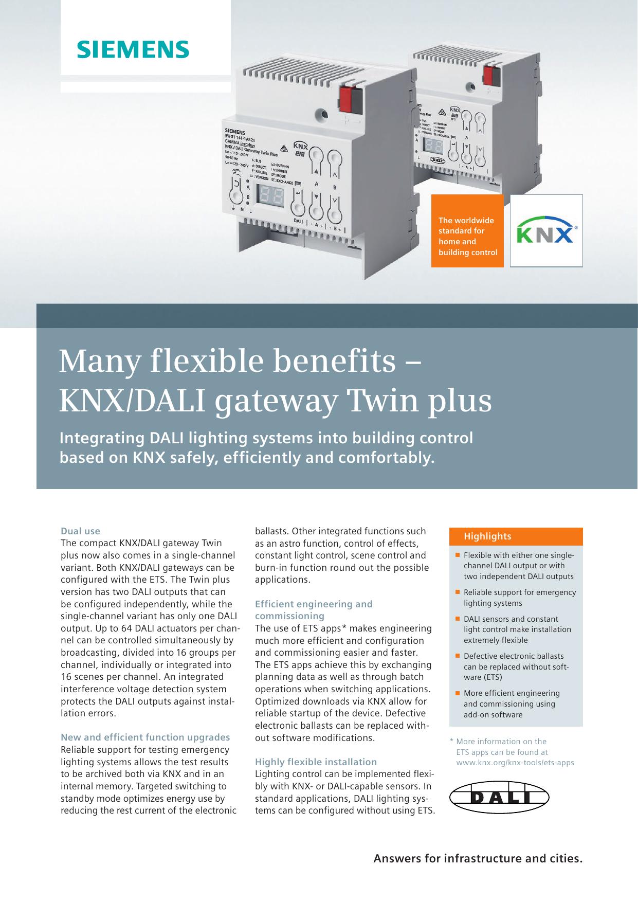 Many flexible benefits – KNX/DALI gateway Twin plus | manualzz.com