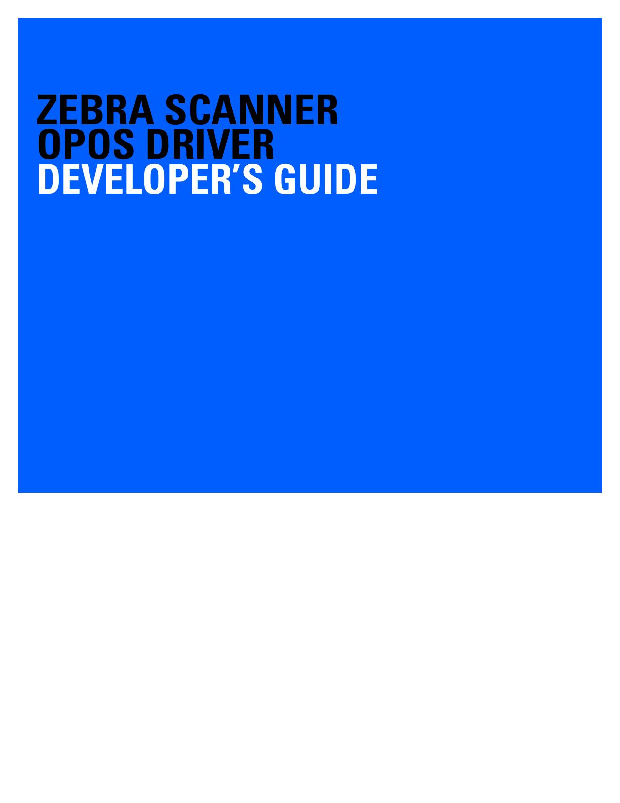 Zebra Scanner OPOS Driver Developer`s Guide | manualzz com