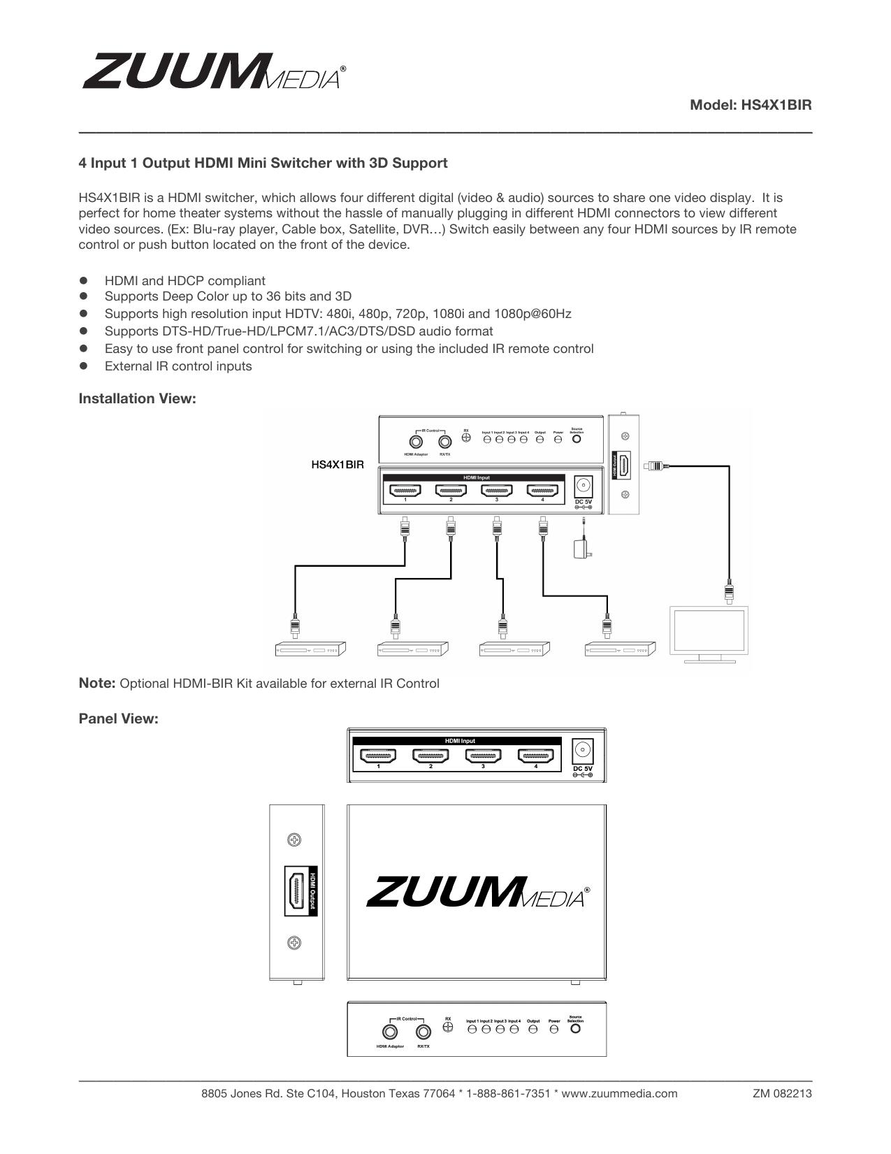 Model: HS4X1BIR 4 Input 1 Output HDMI Mini Switcher with 3D