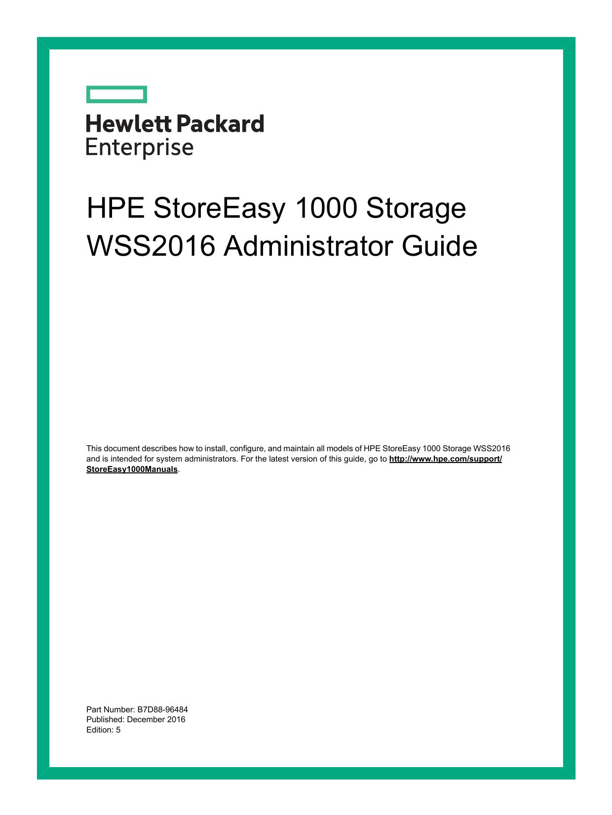 HPE StoreEasy 1000 Storage WSS2016 Administrator Guide