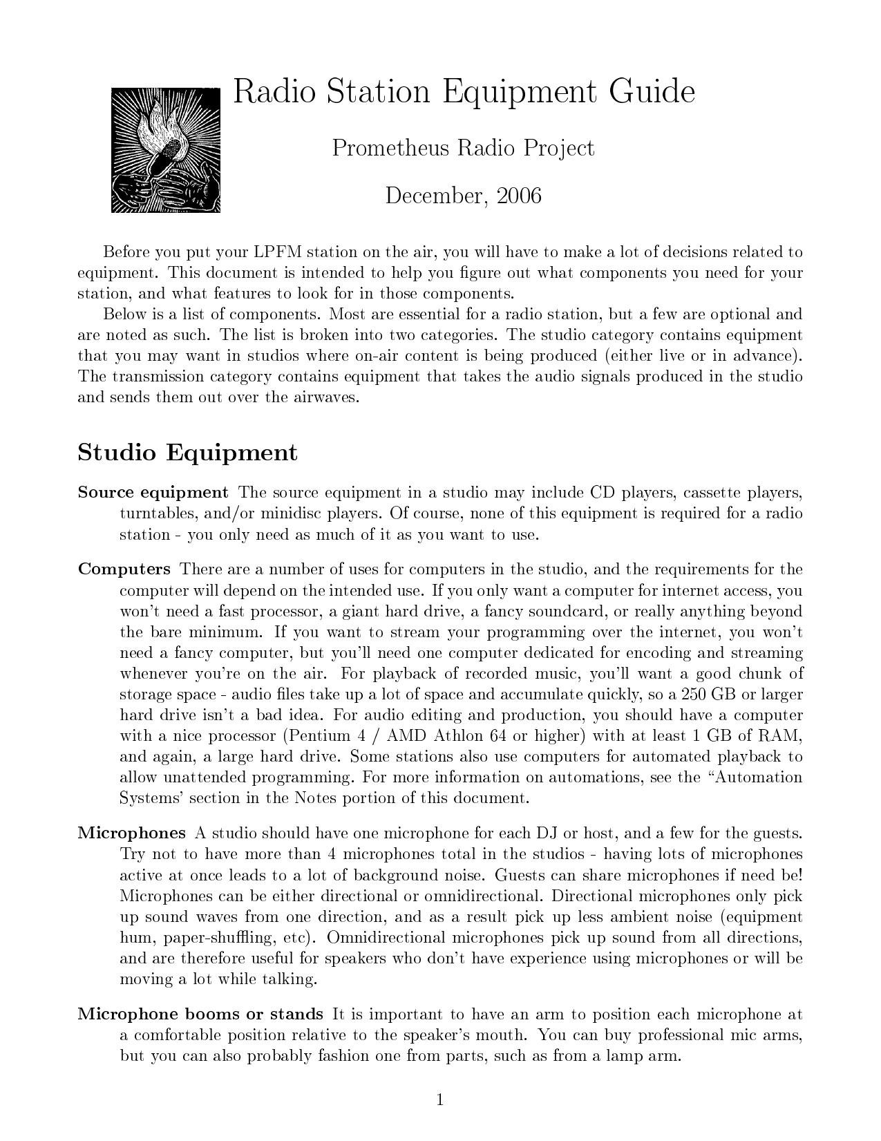 Radio Station Equipment Guide | manualzz com
