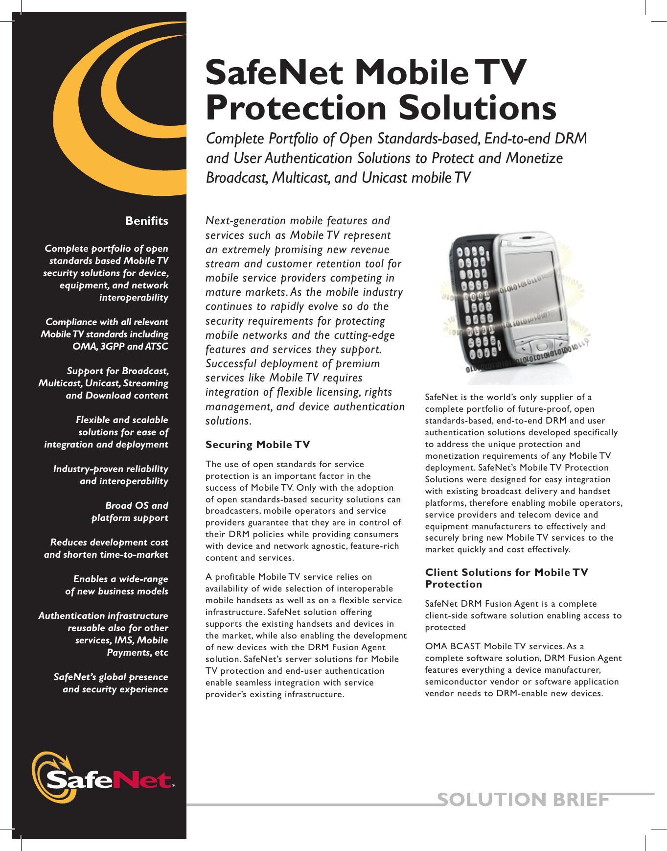 SafeNet Mobile TV Protection Solutions | manualzz com