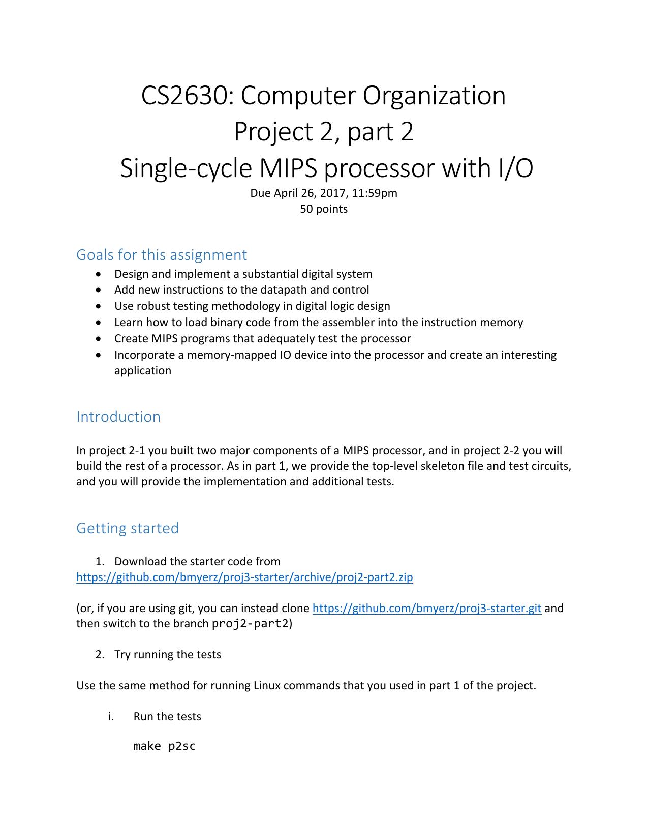 CS2630: Computer Organization Project 2, part 2 - Iowa
