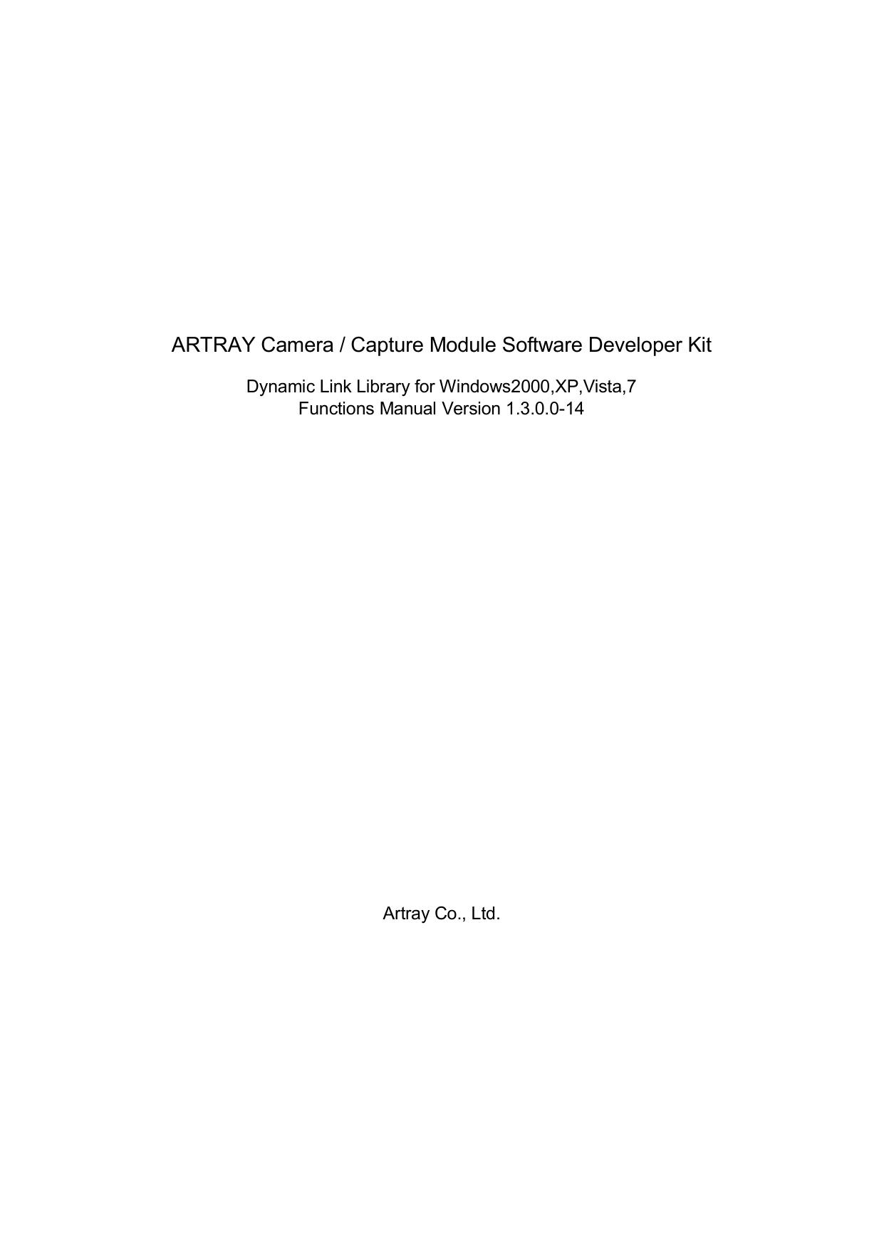 ARTRAY ARTCAM-036MI USB2.0 CMOS CAMERA DRIVERS WINDOWS 7