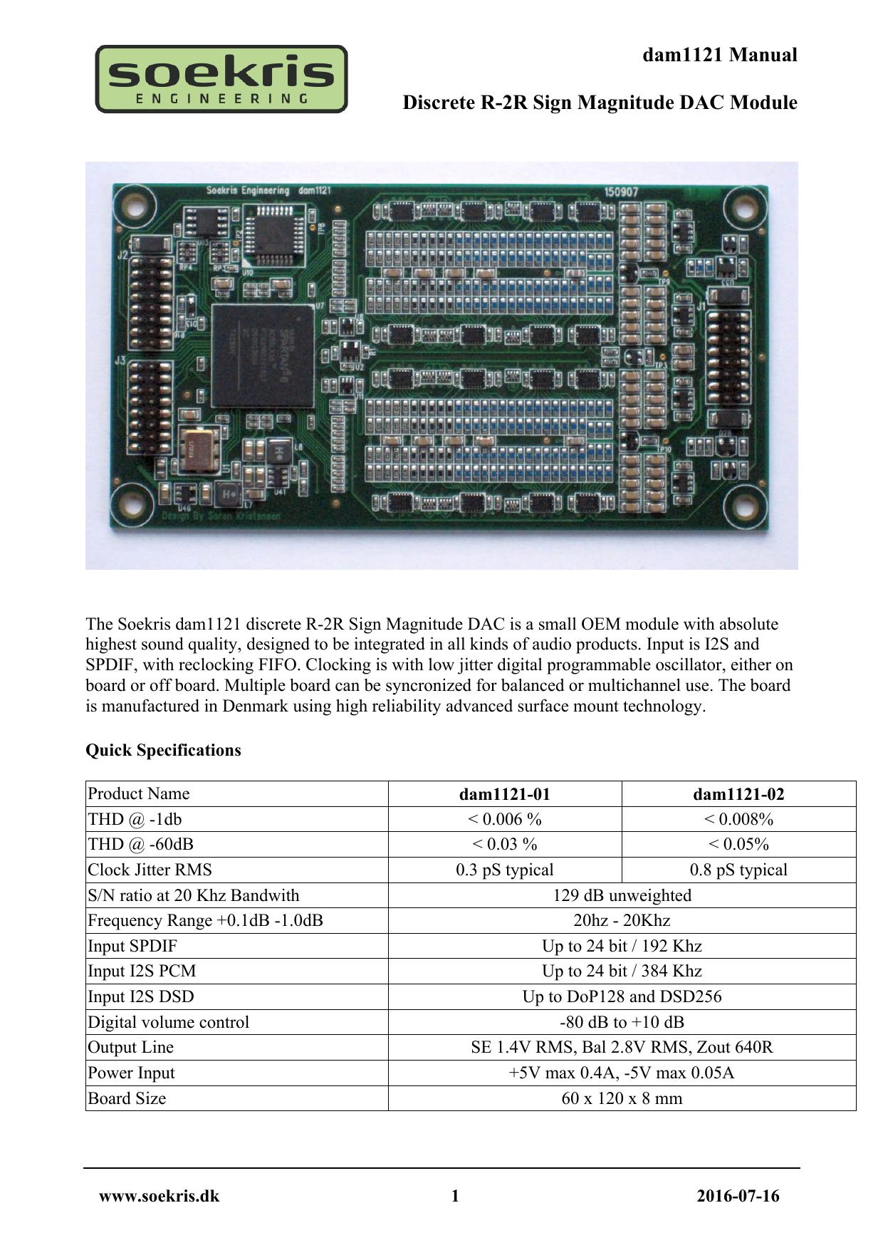 dam1121 Manual Discrete R-2R Sign Magnitude DAC Module