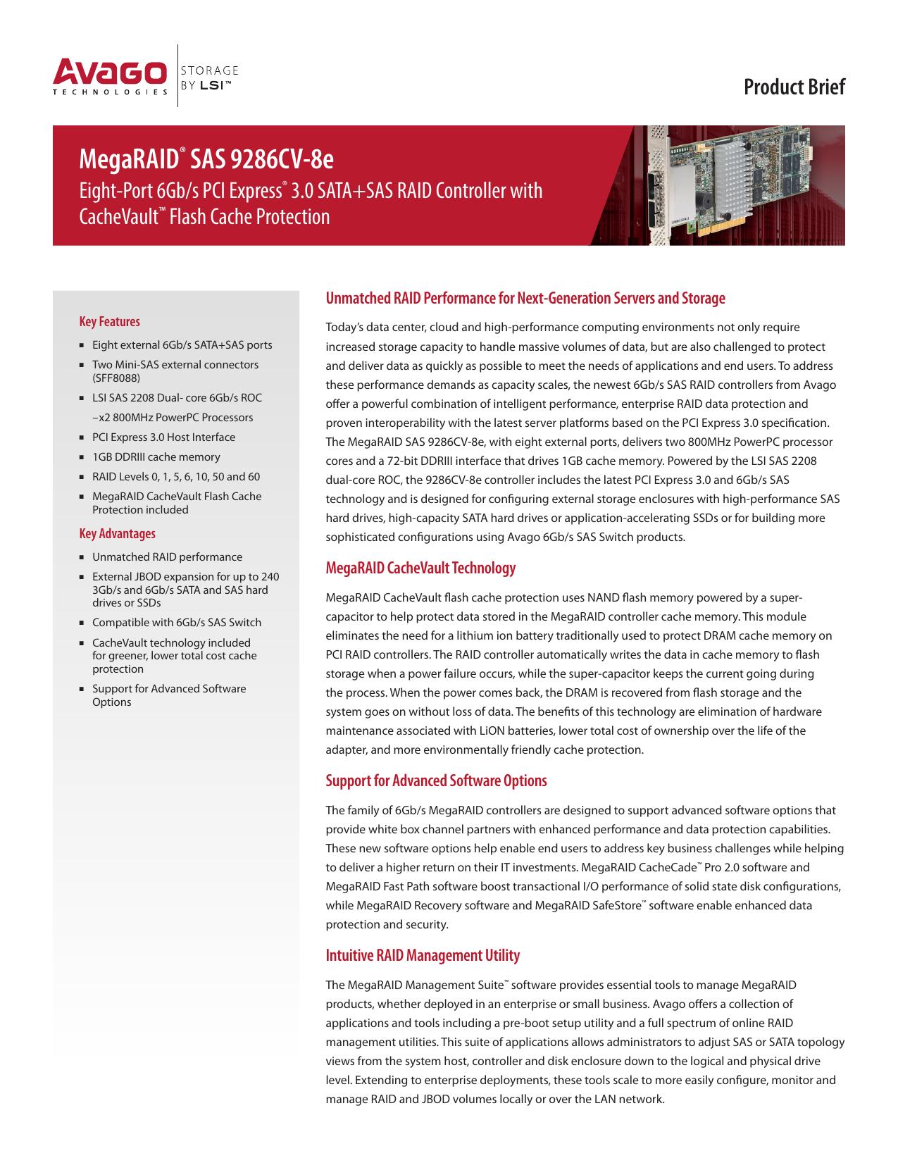 MegaRAID® SAS 9286CV | manualzz com