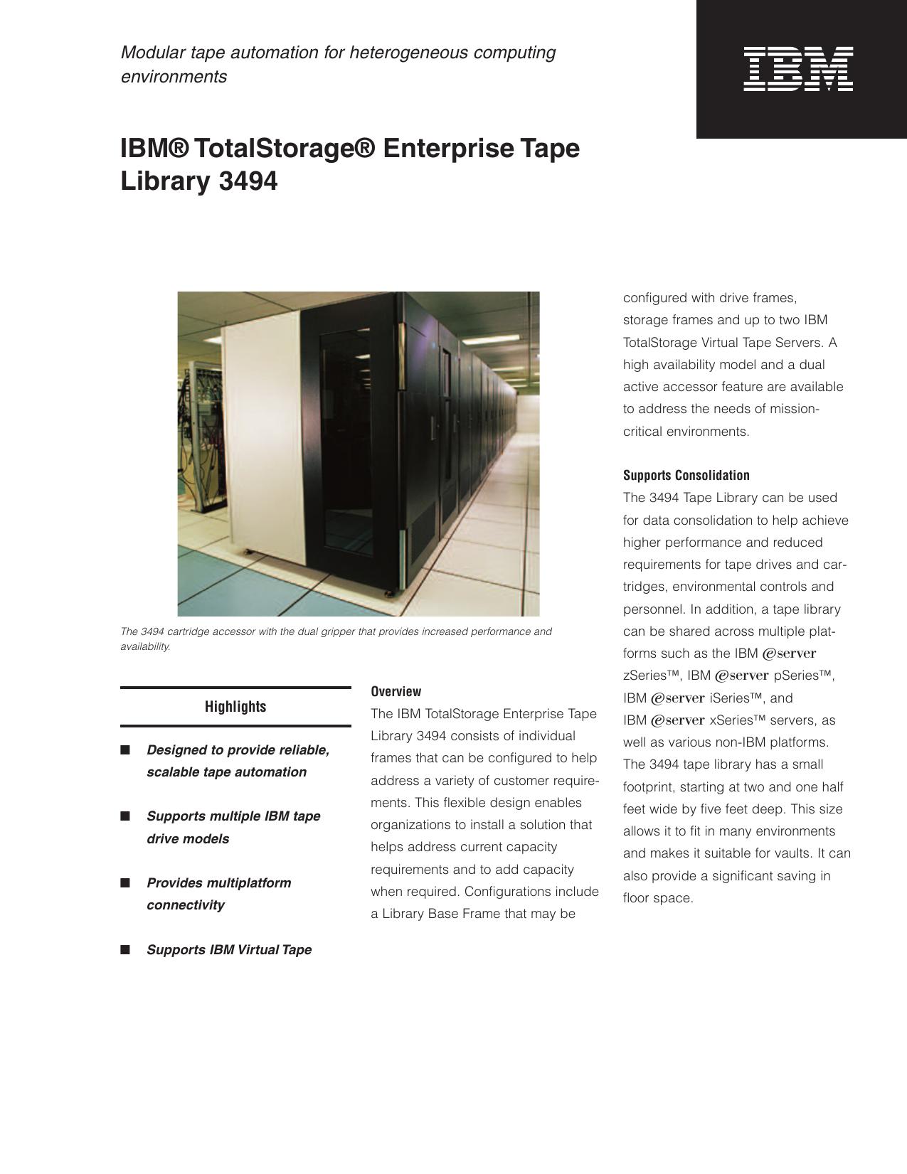 IBM® TotalStorage® Enterprise Tape Library 3494 | manualzz com