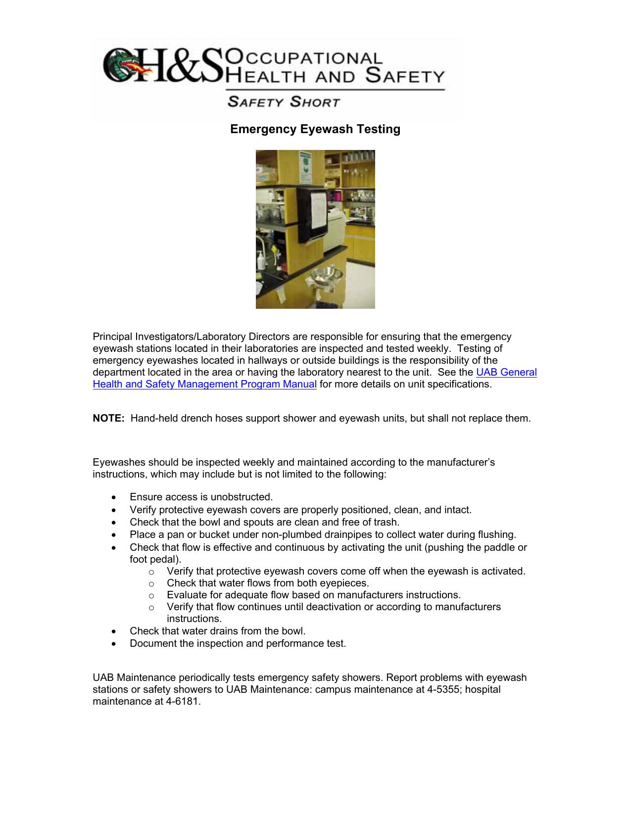 Emergency Eyewash Testing | manualzz com