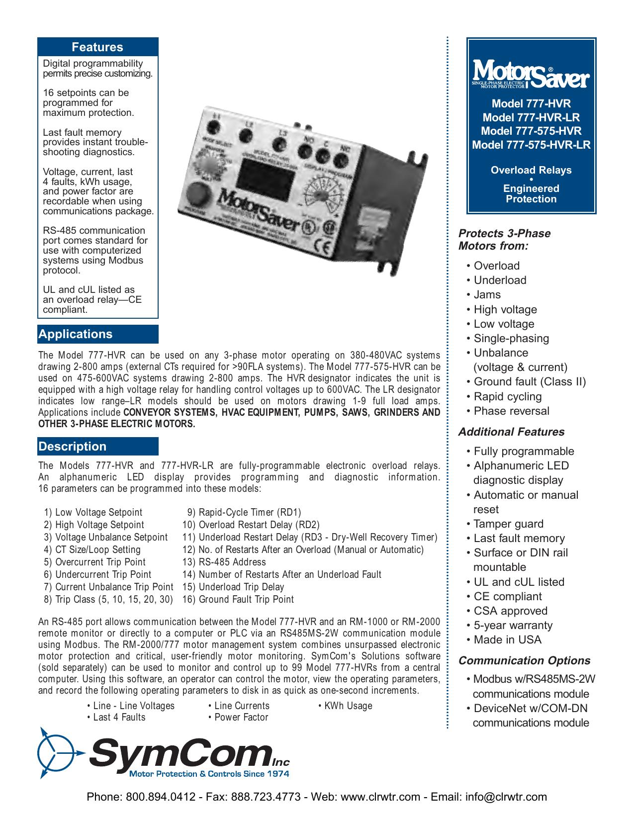SymCom Model 777-HVR Overload Relays   manualzz.com on