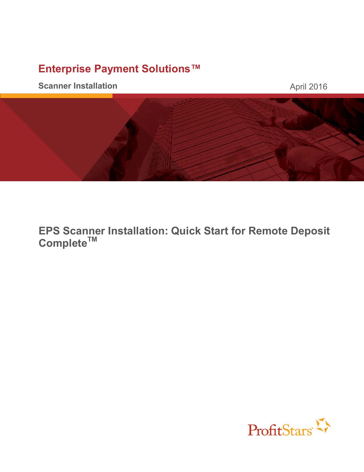Enterprise Payment Solutions™ EPS Scanner Installation: Quick