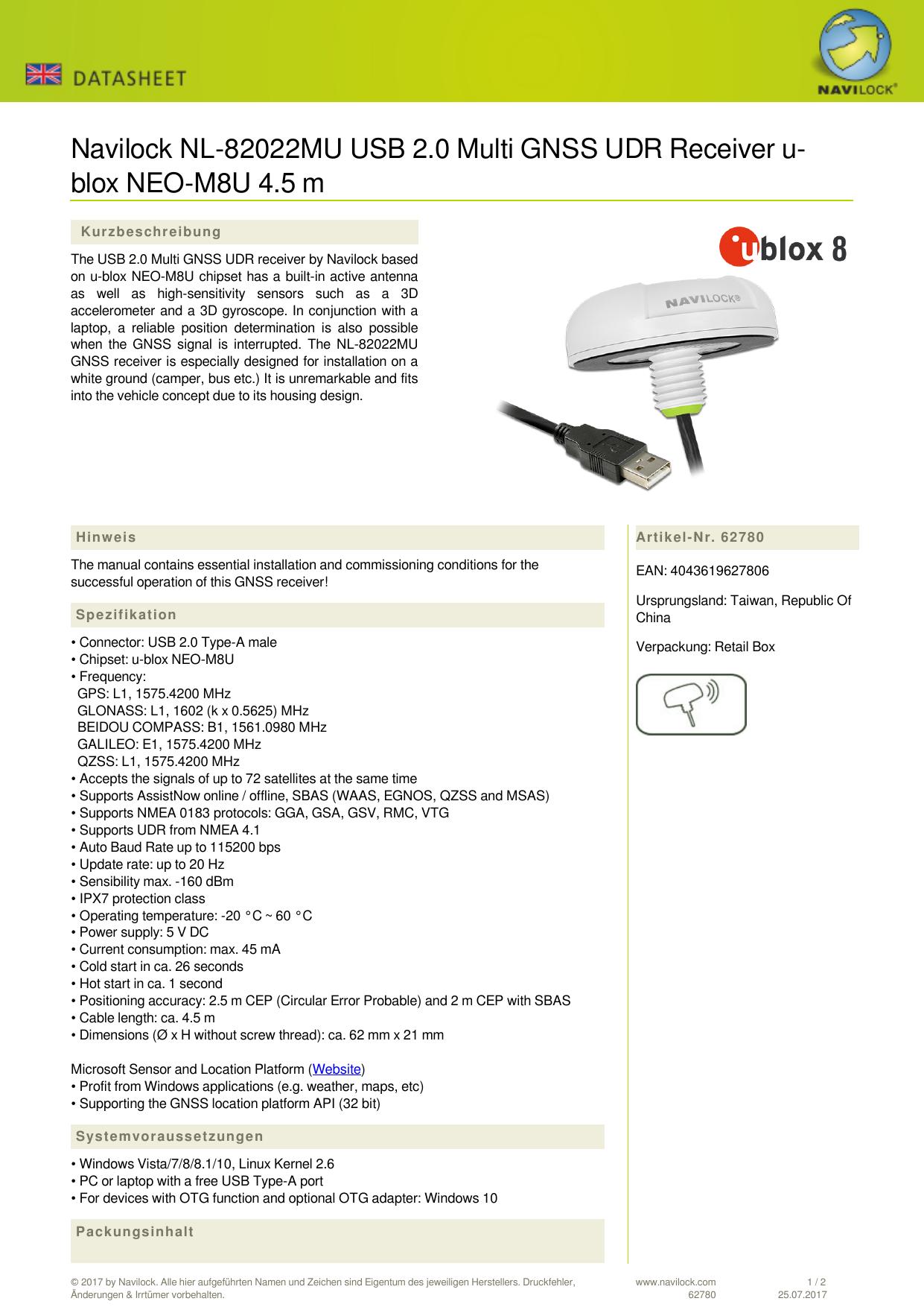 Navilock NL-82022MU USB 2 0 Multi GNSS UDR Receiver u   manualzz com