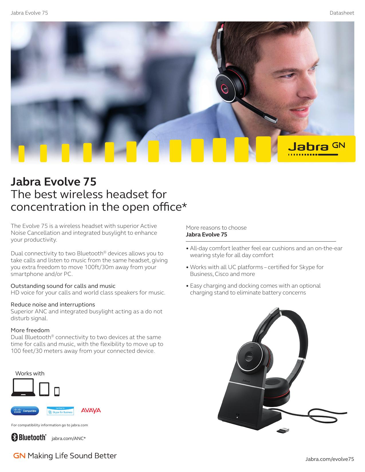 Jabra Evolve 75 Headset Experts Manualzz