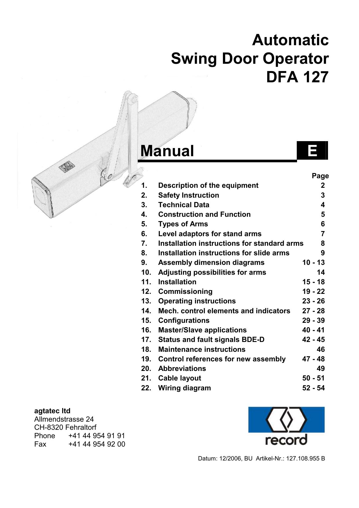 Automatic Swing Door Operator Dfa 127 Manual E