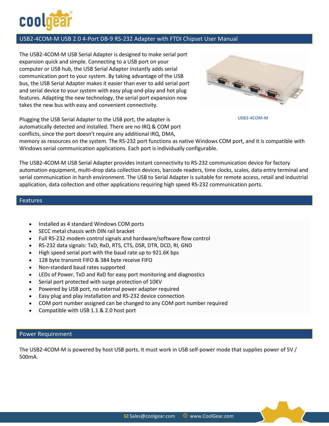 USB2-4COM-M USB 2 0 4-Port DB-9 RS-232 Adapter | manualzz com
