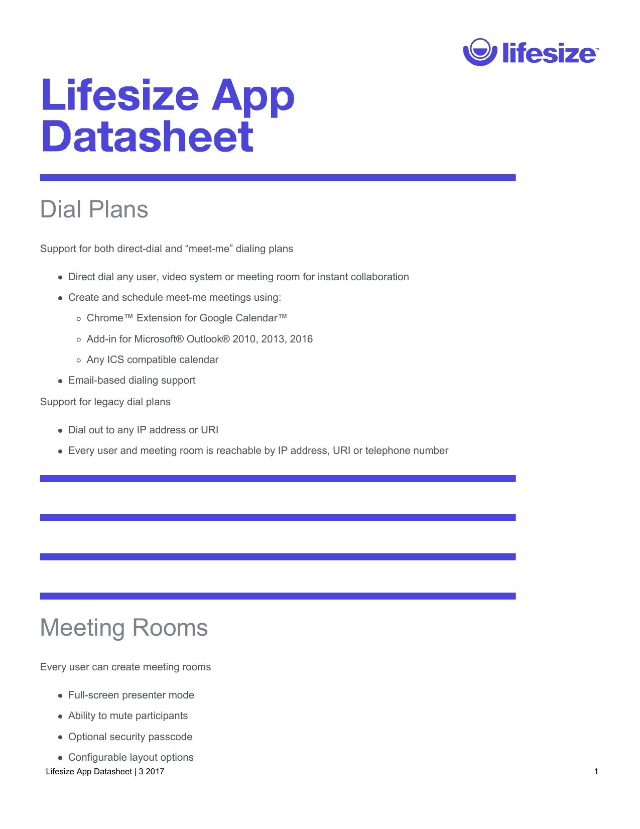 Lifesize App Datasheet | manualzz com