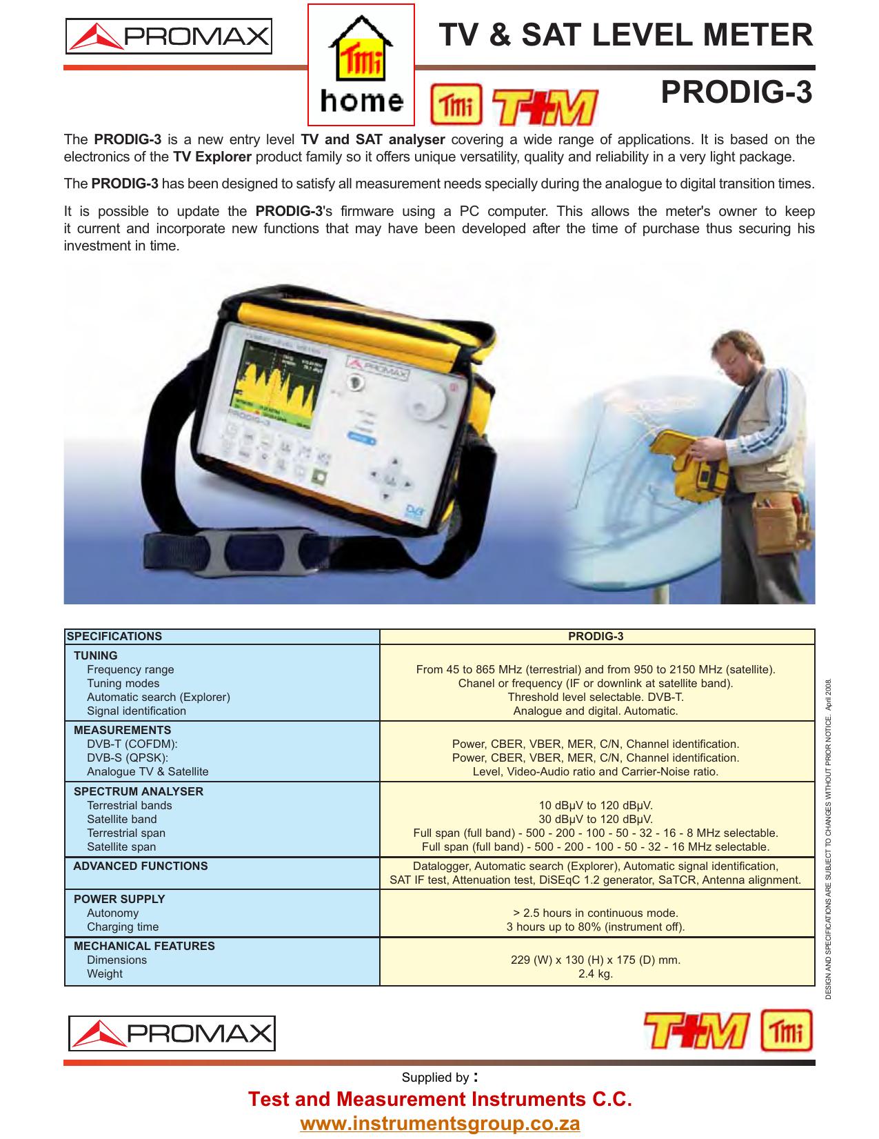 PRODIG-3 - Test and Measurement Instruments CC | manualzz com