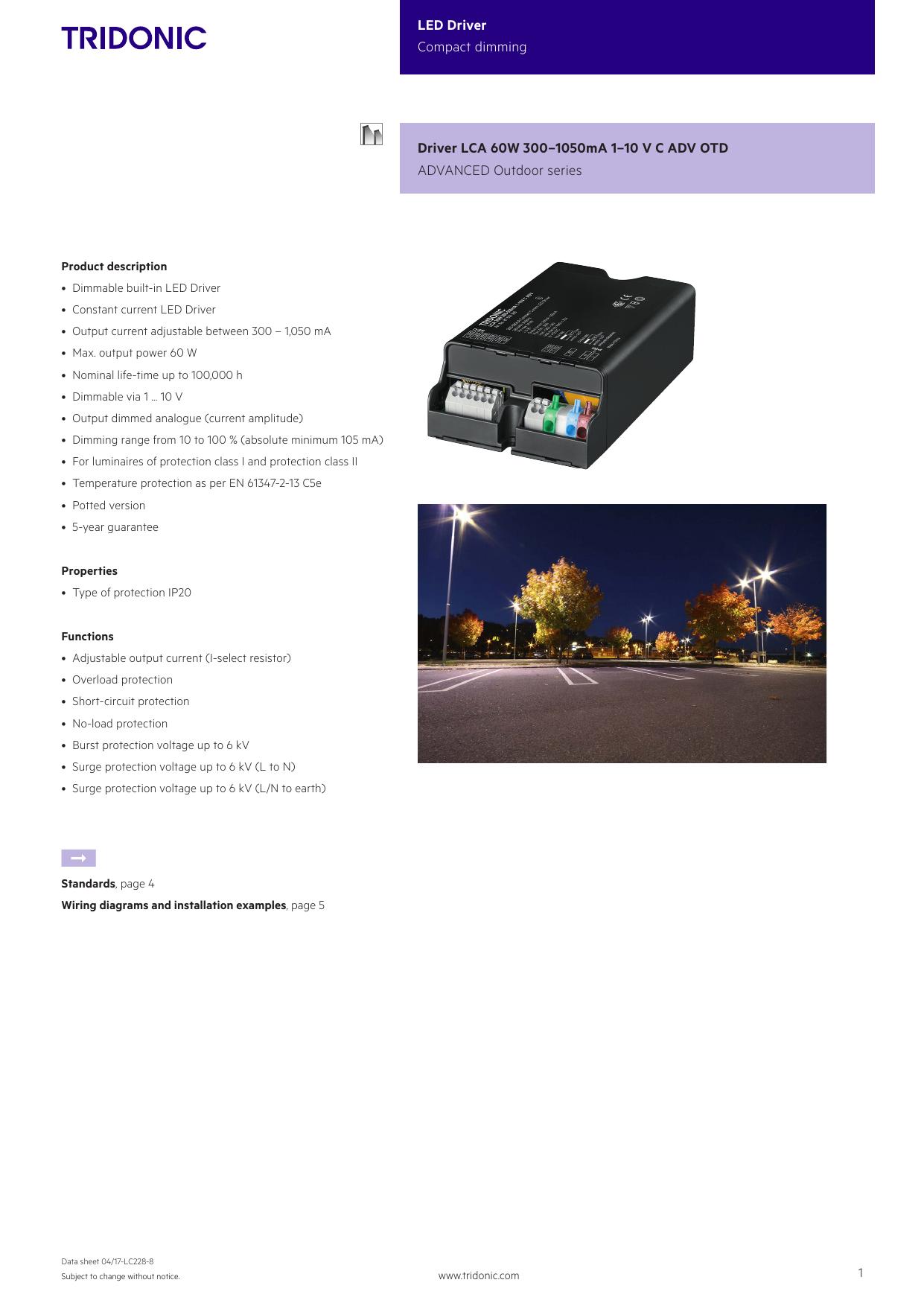 Driver Lca 60 W 3001050 Ma 110 V C Adv Otd Led Power Wiring Diagram