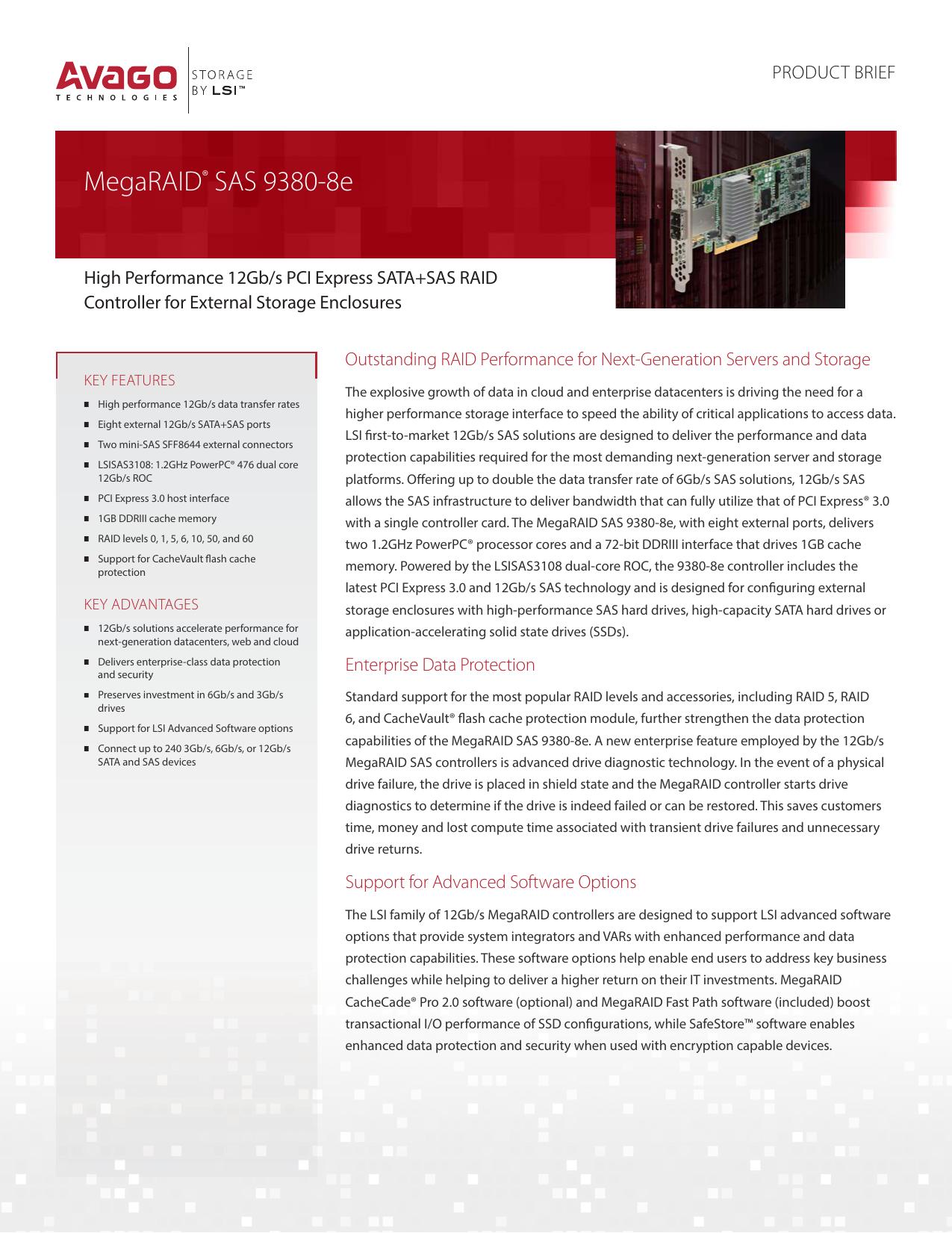 MegaRAID SAS 9380-8e Product Brief | manualzz com