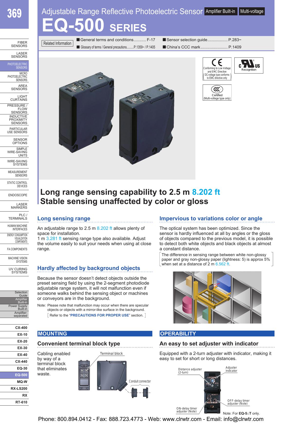 sunx eq 500 adjustable range reflective photoelectric sensors rh manualzz com