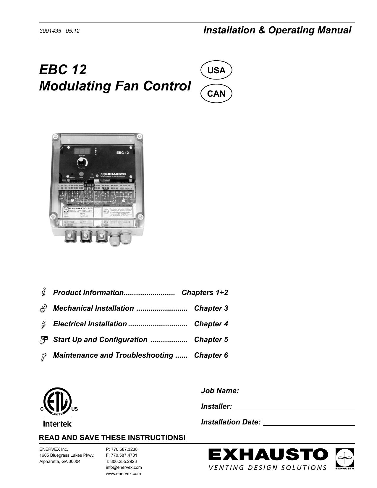 Ebc 12 Modulating Fan Control Enervex Source Exhausto Wiring Schematic