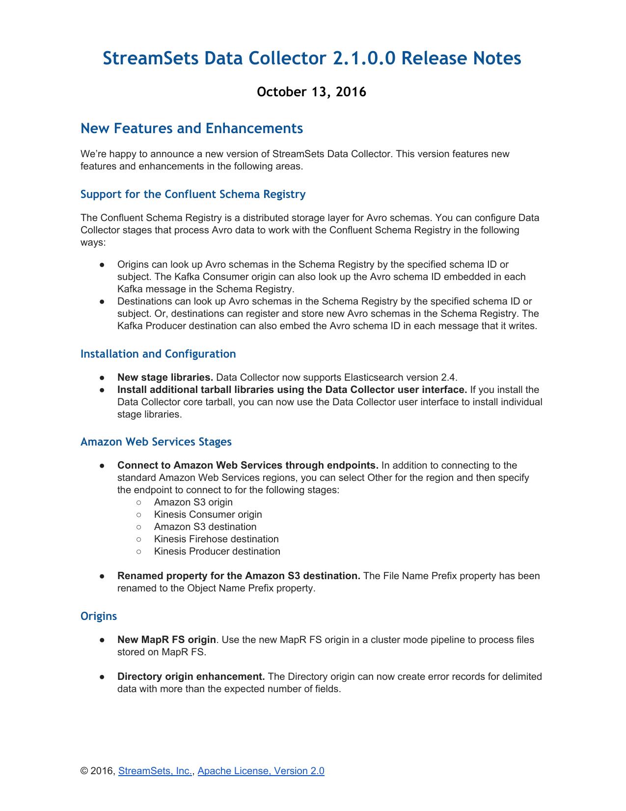 StreamSets Data Collector 2 1 0 0 Release Notes | manualzz com