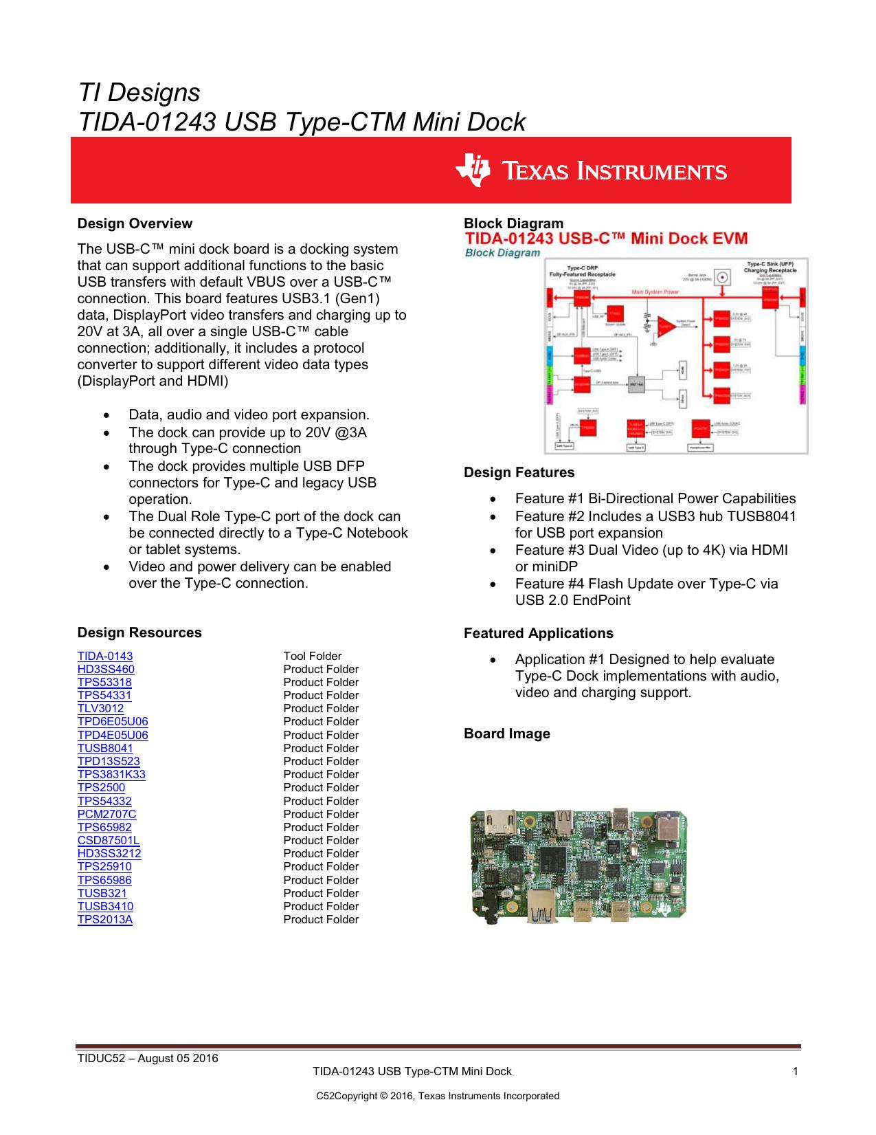 Ti Designs Tida 01243 Usb Type Ctm Mini Dock 3 Cable Wiring