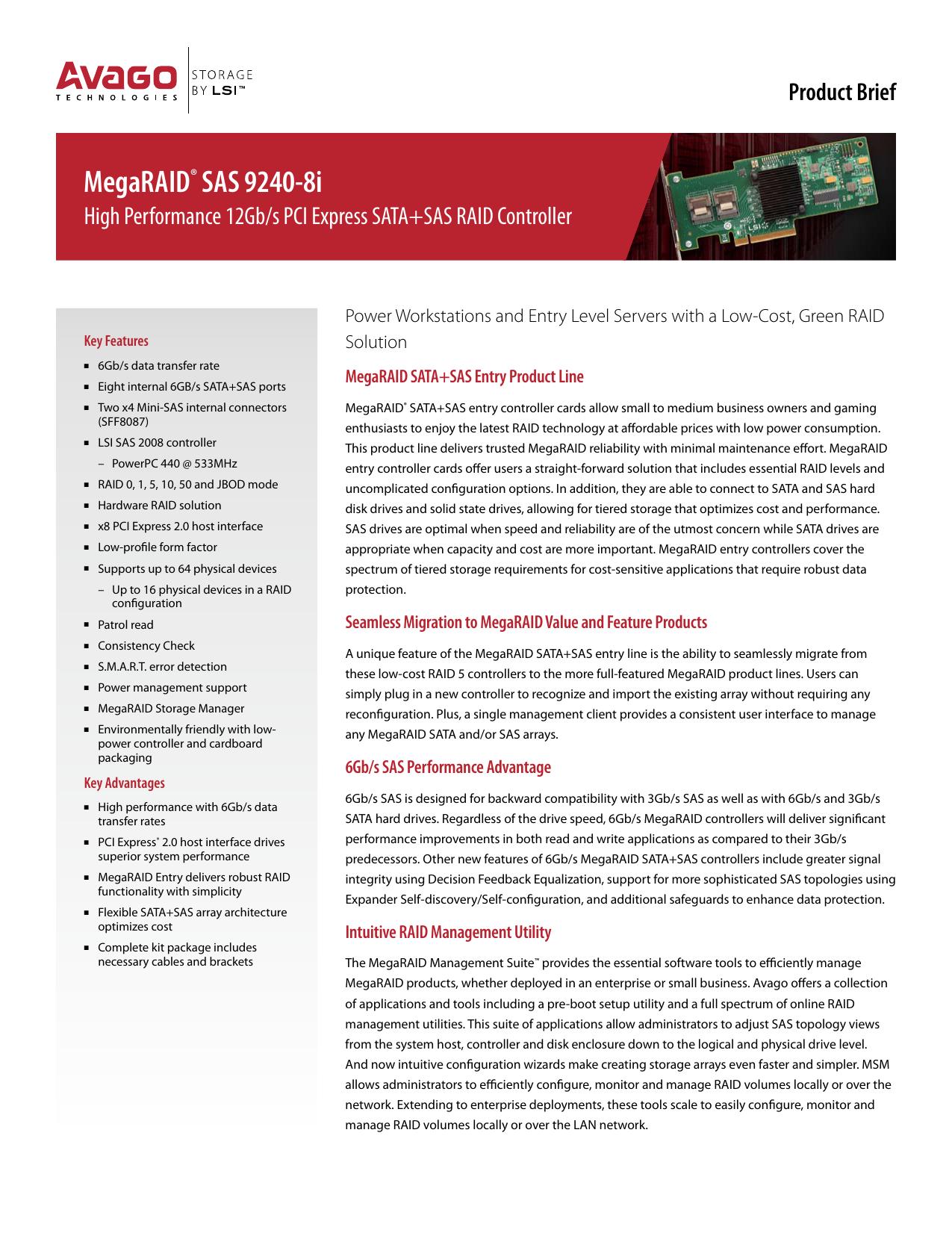 MegaRAID® SAS 9240 | manualzz com