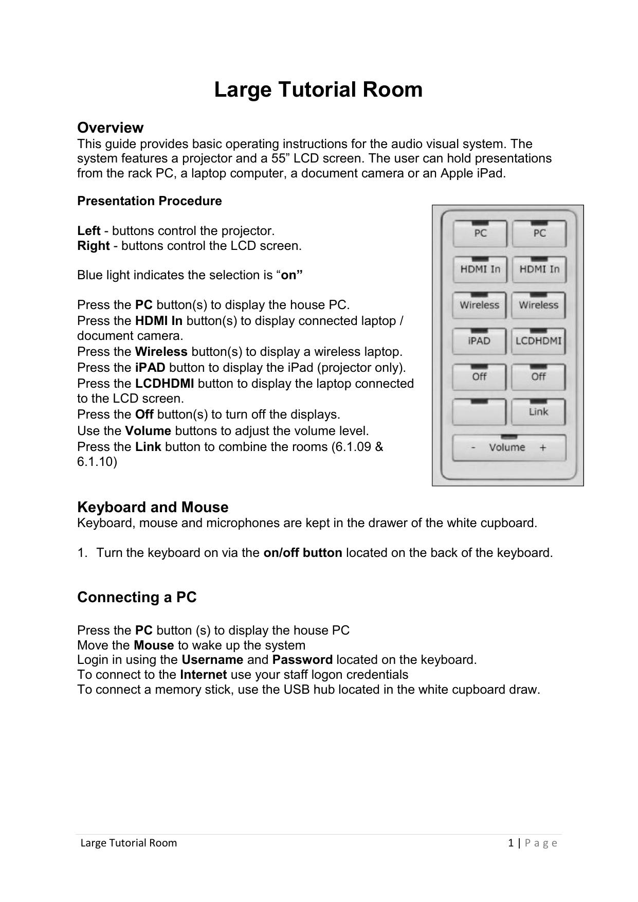 Large Tutorial Room (PDF 315KB) | manualzz com