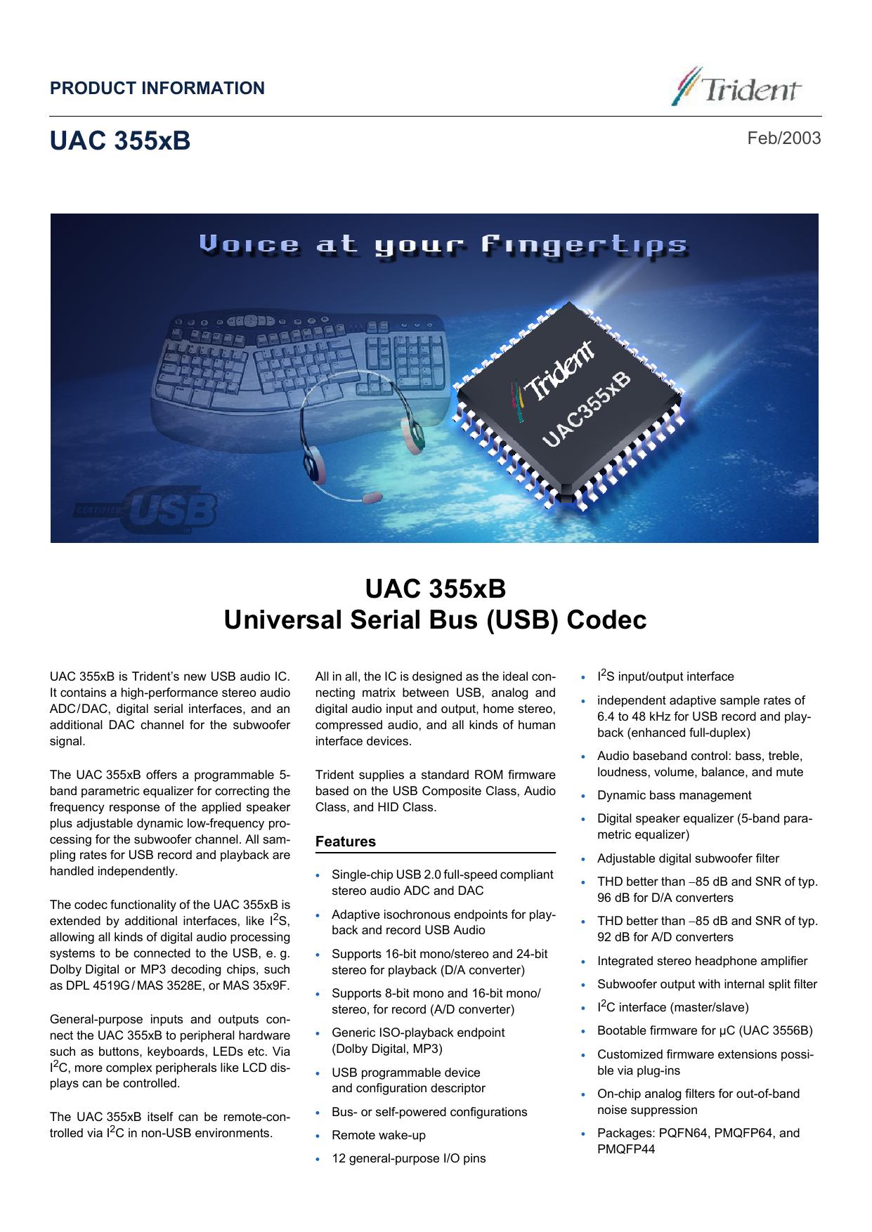 UAC 355xB UAC 355xB Universal Serial Bus (USB) Codec   manualzz com