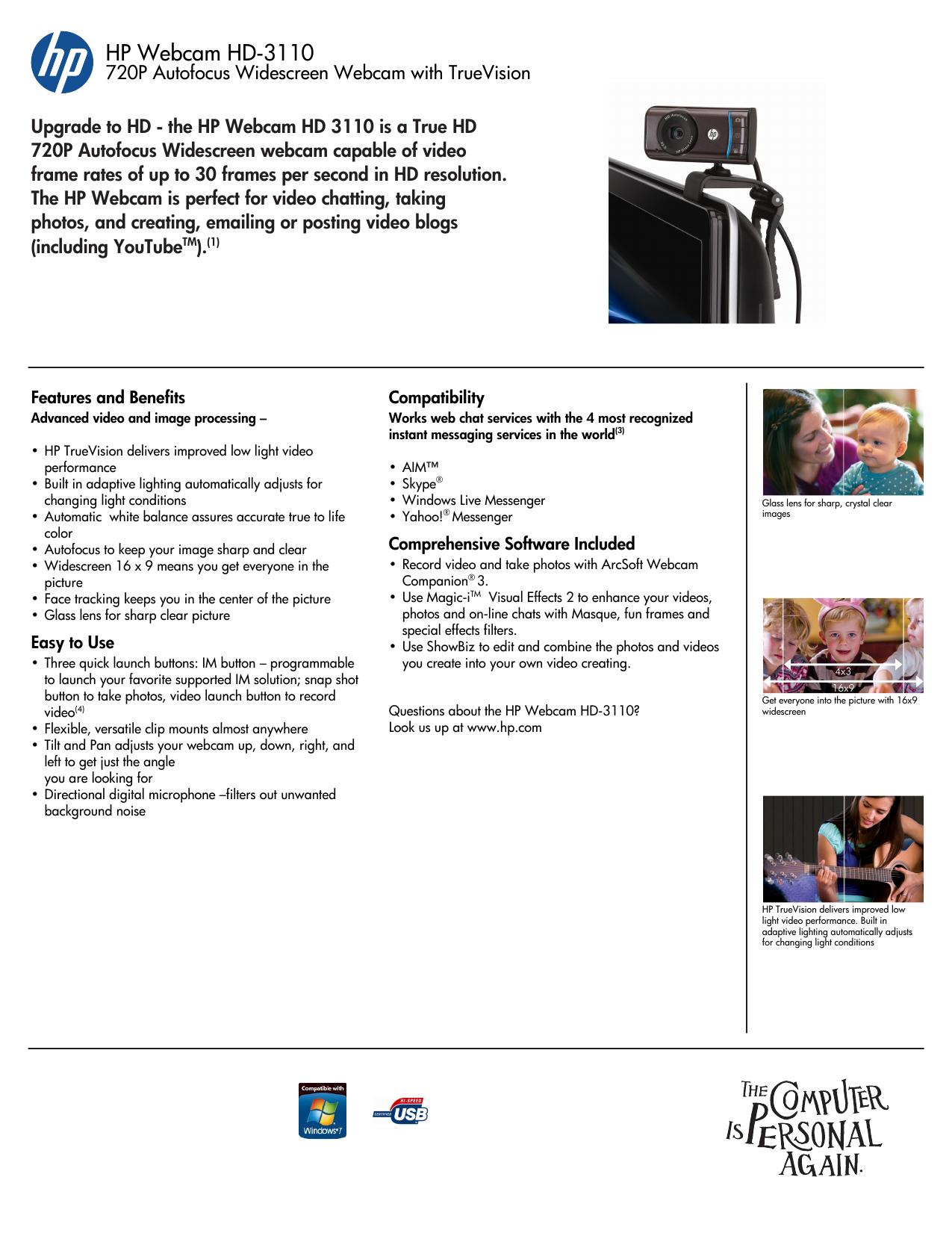 HP HD-3110 Webcam User manual | manualzz com