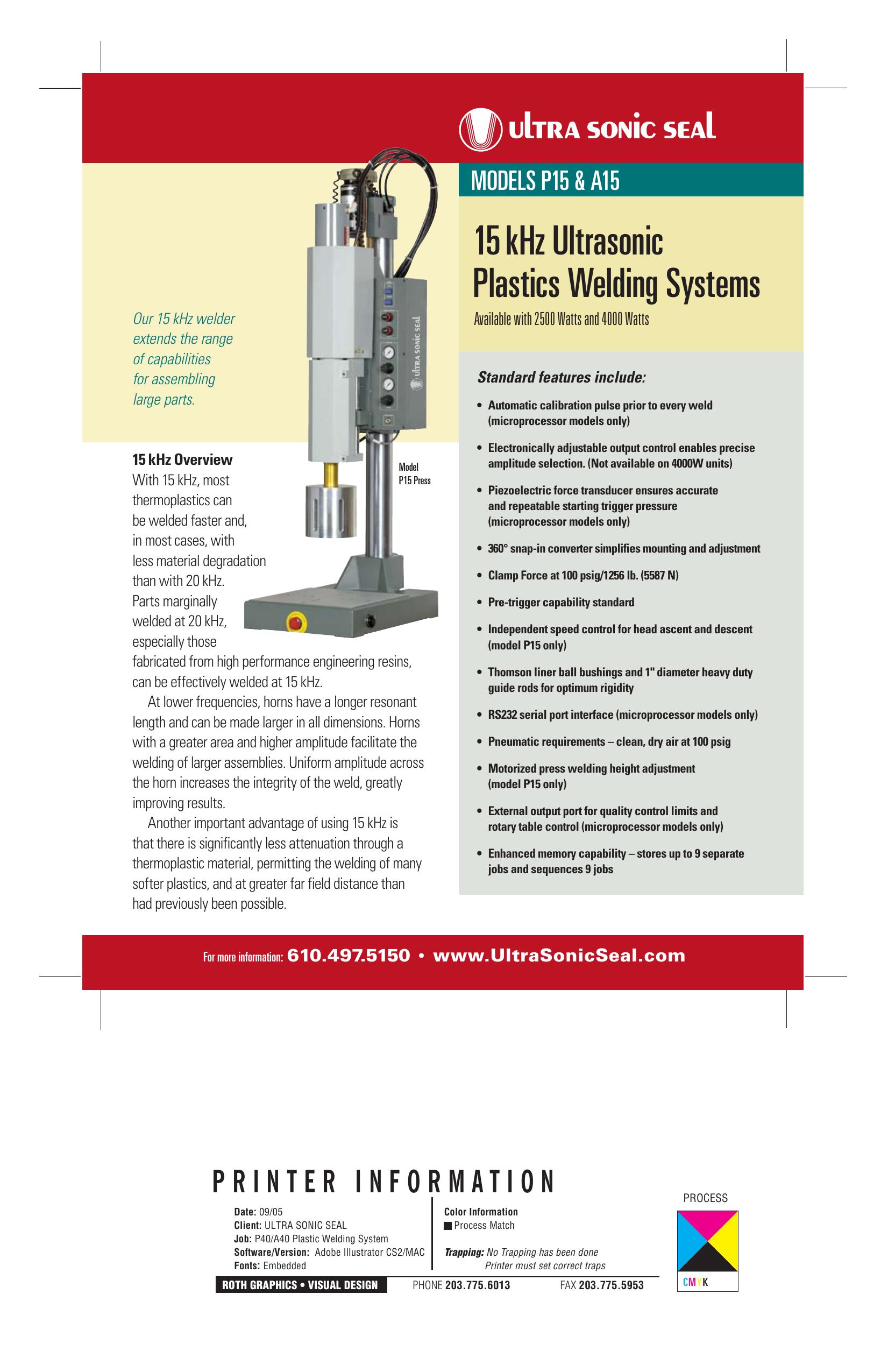 15 kHz Ultrasonic Plastics Welding Systems | manualzz com