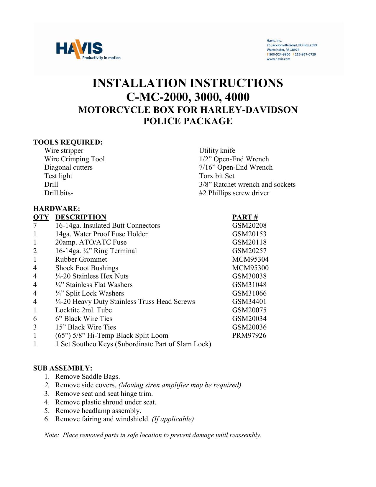 Havis Shields Equipment Corporation Harley Davidson Police Wiring Harness