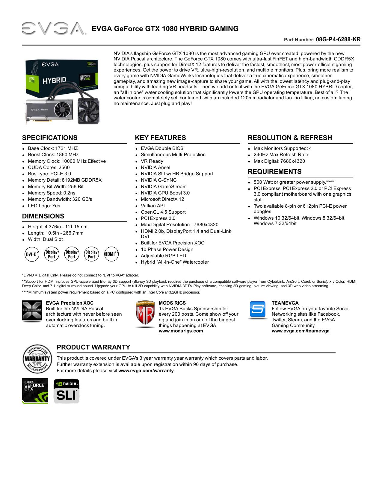 EVGA GeForce GTX 1080 HYBRID GAMING | manualzz com