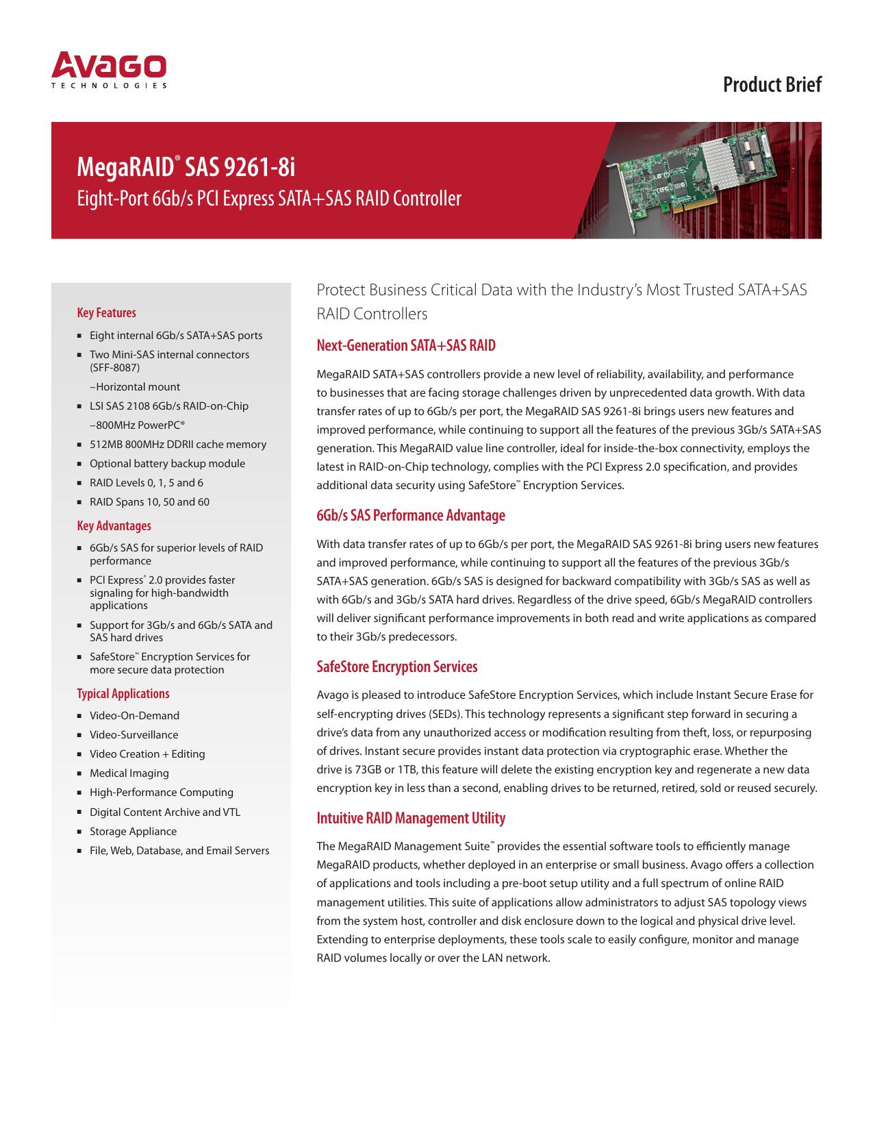 MegaRAID® SAS 9261-8i Prodict Brief | manualzz com
