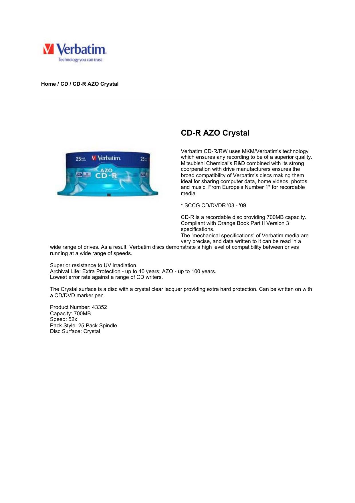 43352 Verbatim AZO CD-R 52X 700MB Crystal 25 Pack 25 Pack