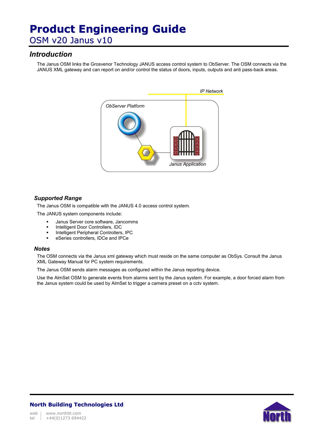 OSM v20 Janus v10 - North Building Technologies | manualzz com