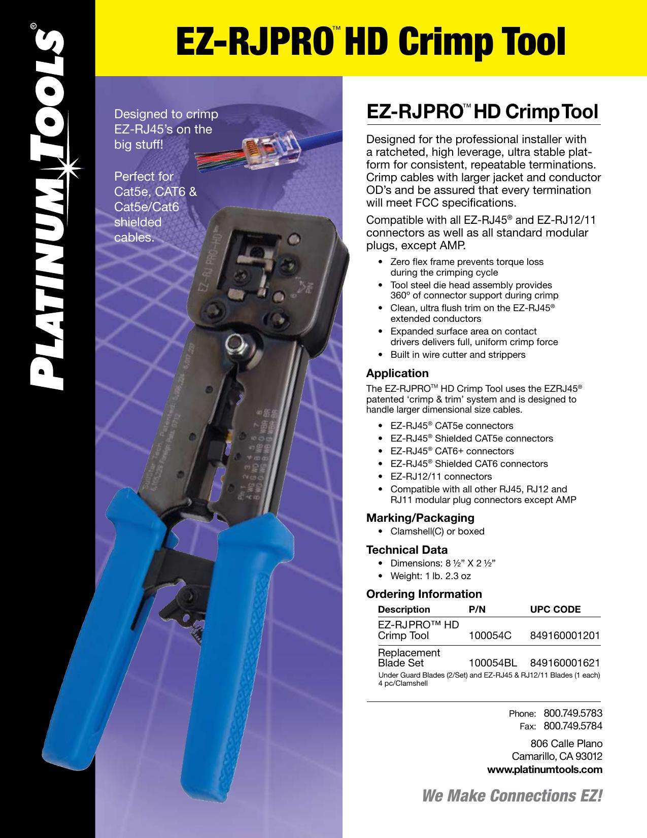 Combo Platinum Tools 100011C EZ-RJ45 Cat 6 Includes 30 Connectors and 30 Strain Reliefs