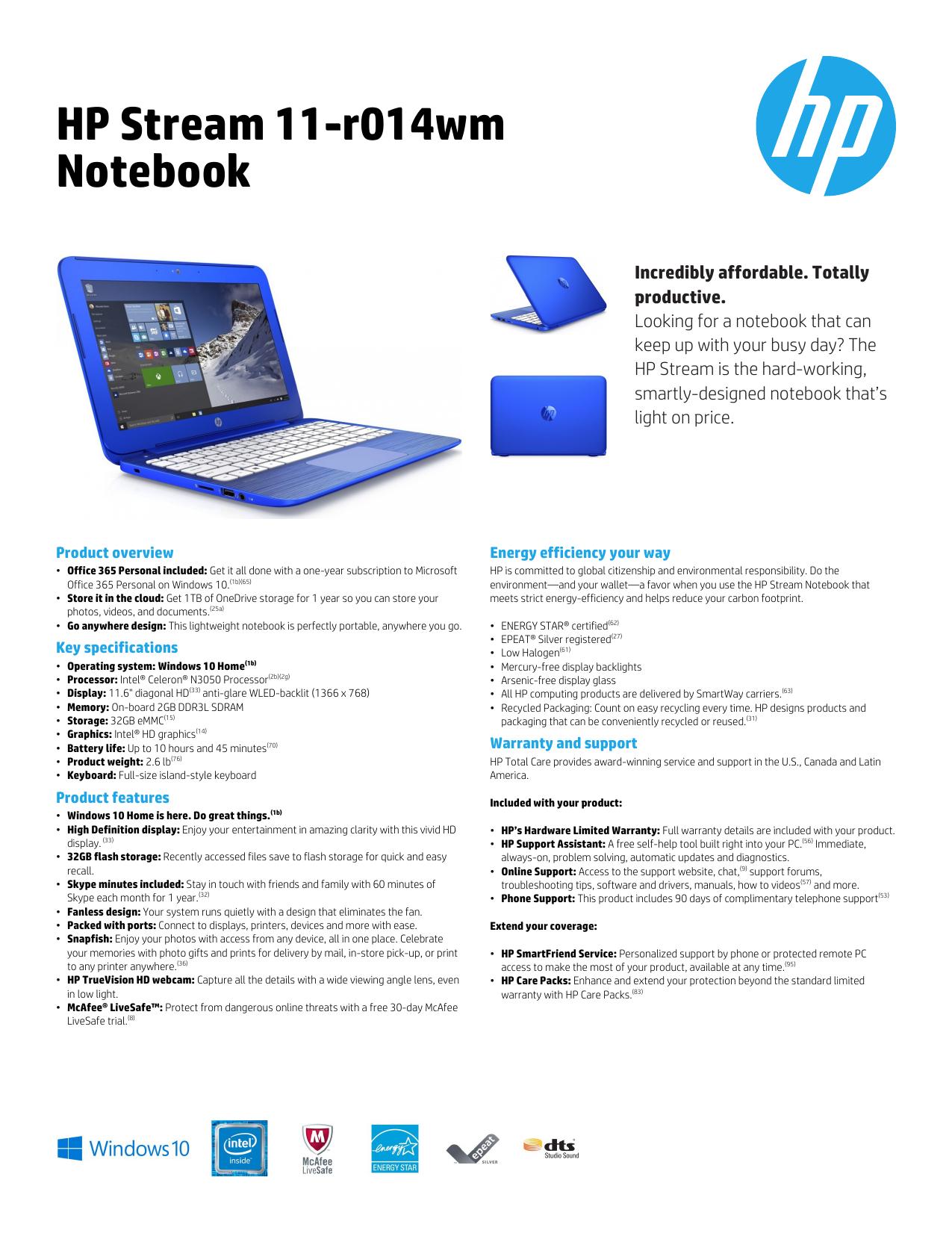 HP Stream 11-r014wm Notebook | manualzz com